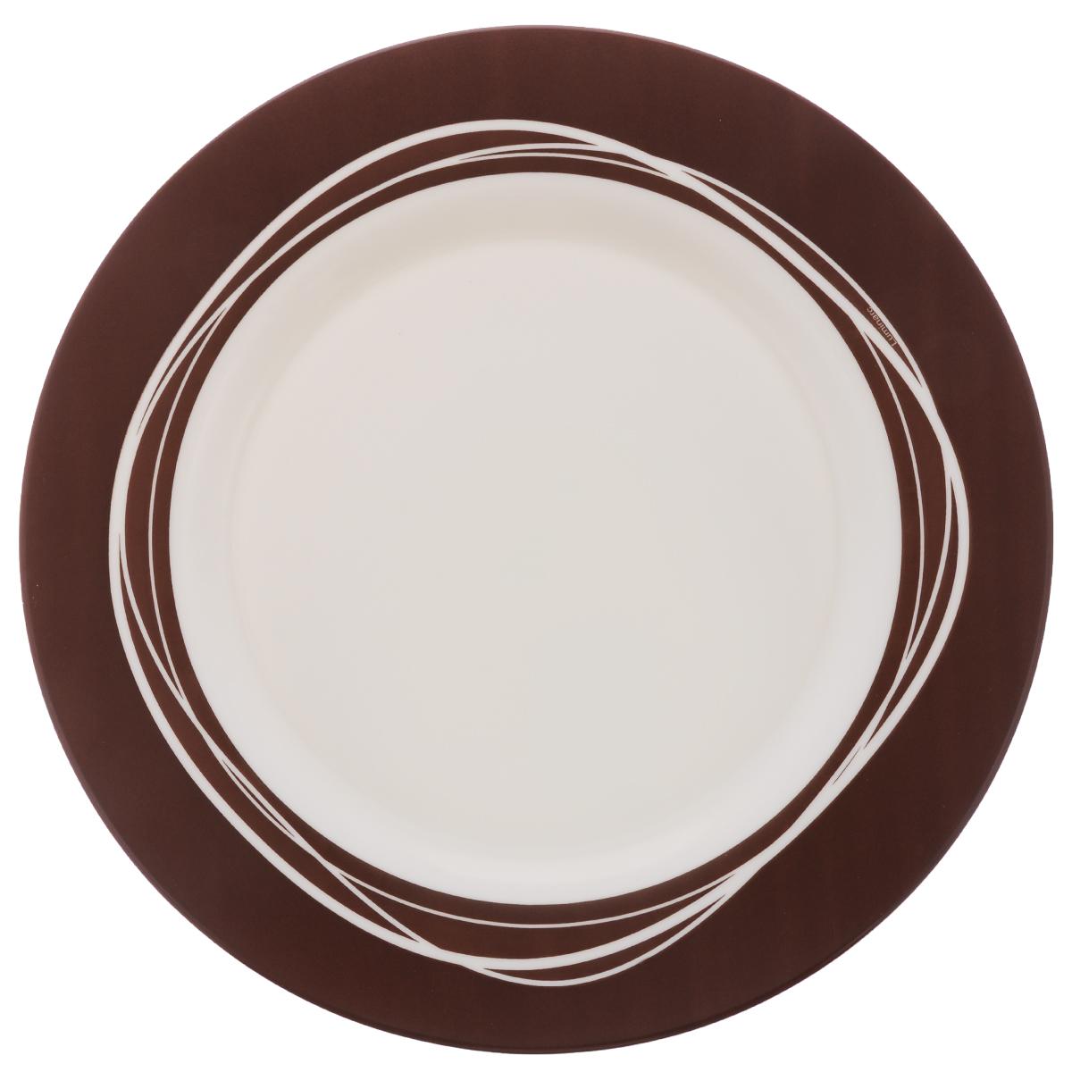 Тарелка Luminarc Raffia Brown, диаметр 26,5 смJ2427Тарелка Luminarc Raffia Brown, изготовленная из ударопрочного стекла, оформлена в классическом стиле. Такая тарелка прекрасно подходит как для торжественных случаев, так и для повседневного использования. Идеальна для подачи десертов, пирожных, тортов и многого другого. Она прекрасно оформит стол и станет отличным дополнением к вашей коллекции кухонной посуды. Диаметр тарелки (по верхнему краю): 26,5 см. Высота тарелки: 1,7 см.