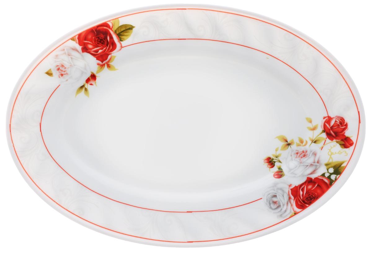 Блюдо Chinbull Классик, 25 см х 17 смHYP-100/6627Блюдо Chinbull Классик, изготовленное из экологически чистой стеклокерамики, оформлено красочным рисунком цветов и изящными узорами. Такое блюдо прекрасно подходит как для торжественных случаев, так и для повседневного использования. Идеально оформит стол и станет отличным дополнением к вашей коллекции кухонной посуды. Размер блюда (по верхнему краю): 25 см х 17 см. Высота стенки: 2 см.