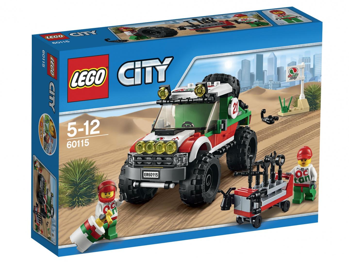 LEGO City Конструктор Внедорожник 4x4 6011560115Конструктор Lego City Внедорожник 4x4 приведет в восторг любого ребенка, ведь все дети обожают знаменитые конструкторы Lego. Конструктор содержит 176 пластиковых элементов, с помощью которых малыш сможет собрать небольшую сценку из жизни Города Lego. Подготовь внедорожник 4х4 к большой гонке по пустыне! Проверь запаску и убедись, что она накачана, а затем заполни переносной топливный бак. Используй инструменты, чтобы проверить грузовик, и пристегни водителя ремнём. Весь Lego City охвачен предвкушением гонки! В комплекте: элементы для сборки гоночного внедорожника, фигурки двух водителей, а также дополнительные аксессуары, которые разнообразят игру. Колесики машинки вращаются, а благодаря рельефной поверхности колес она великолепно скользит по любой поверхности. Игры с конструкторами помогут ребенку развить воображение, внимательность, пространственное мышление и творческие способности. Такой конструктор надолго займет внимание малыша и непременно станет его любимой...
