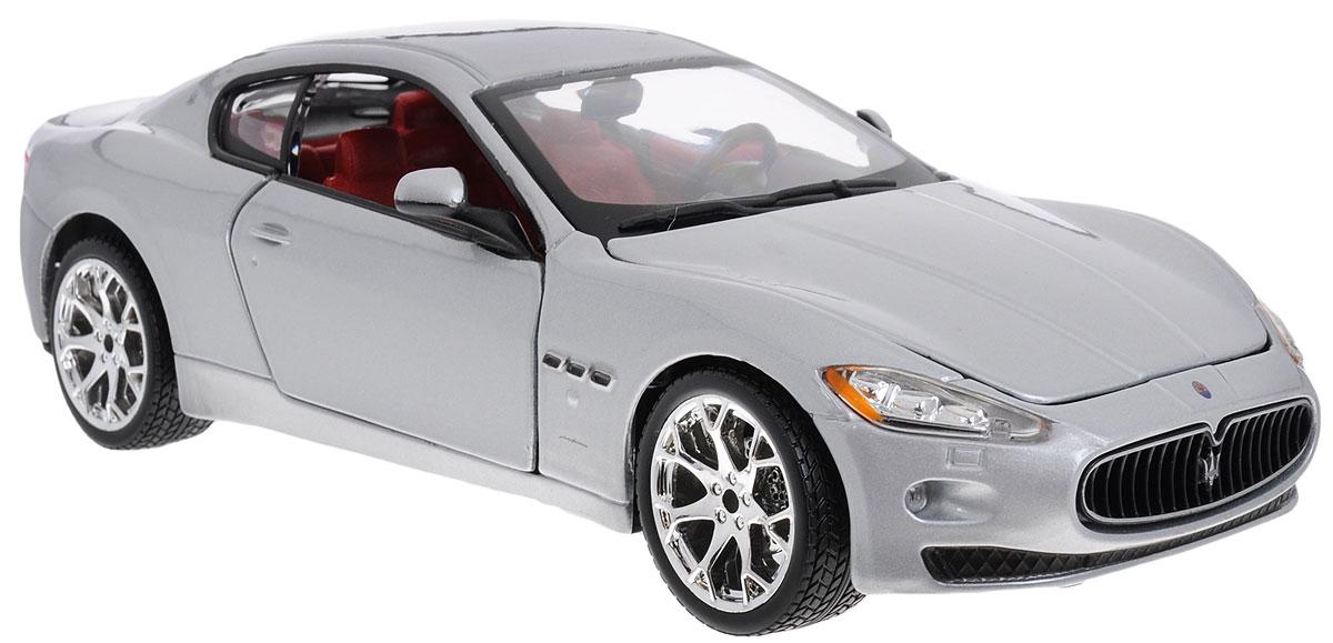Bburago Модель автомобиля Maserati GranTurismo 2008 цвет серебристый18-22107_серебряныйМодель автомобиля Bburago Maserati GranTurismo предназначена для тех, кто любит роскошь и высокие скорости. Благодаря броской внешности, а также великолепной точности, с которой создатели этой модели масштабом 1/24 передали внешний вид настоящего автомобиля, машинка станет подлинным украшением любой коллекции авто. Машинка будет долго служить своему владельцу благодаря металлическому корпусу с элементами из пластика. Передние двери машины и капот открываются. При повороте руля изменяют свое направление колеса. Шины обеспечивают отличное сцепление с любой поверхностью пола. Модель автомобиля Maserati GranTurismo обязательно понравится вашему ребенку и станет достойным экспонатом любой коллекции.