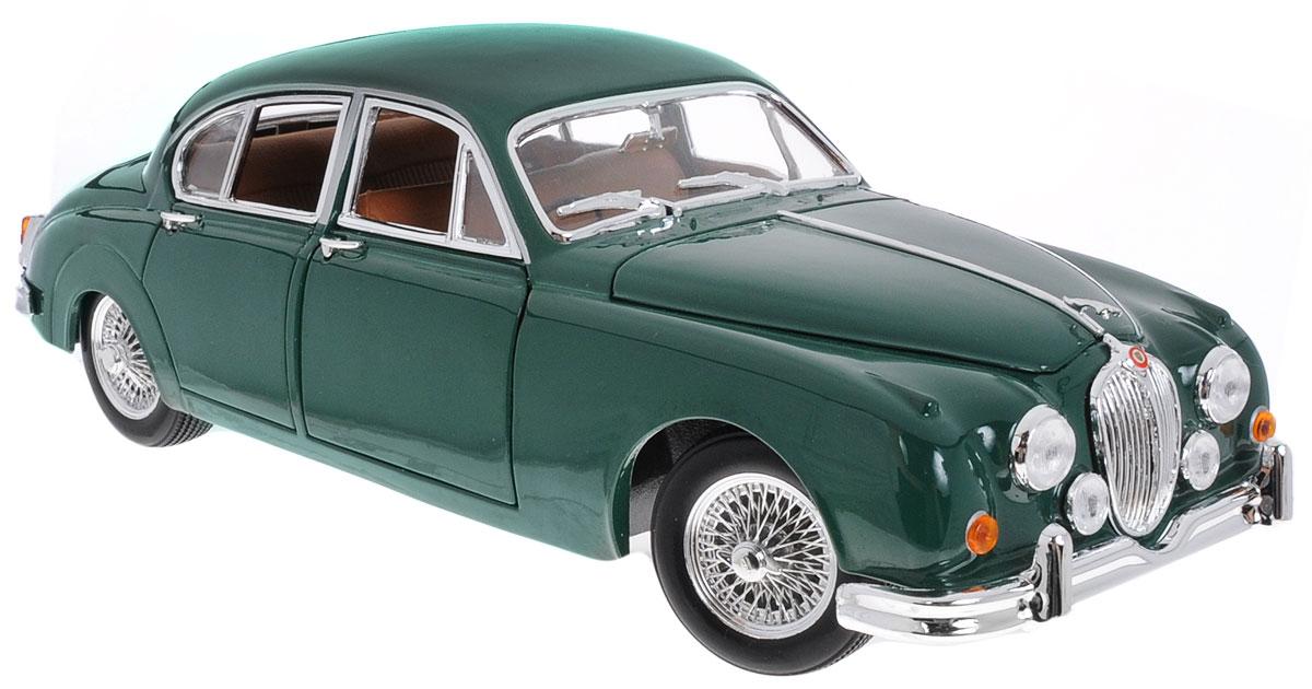 Bburago Модель автомобиля Jaguar Mark II 1959 цвет темно-зеленый18-12009_зеленыйМодель автомобиля Bburago Jaguar Mark II (1959) предназначена для тех, кто любит роскошь и классические автомобили. Благодаря броской внешности, а также великолепной точности, с которой создатели этой модели масштабом 1/18 передали внешний вид настоящего автомобиля, машинка станет подлинным украшением любой коллекции авто. Машинка будет долго служить своему владельцу благодаря металлическому корпусу с элементами из пластика. Передние двери машины, багажник и капот открываются. При повороте руля изменяют свое направление колеса. Шины обеспечивают отличное сцепление с любой поверхностью пола. Модель автомобиля Jaguar Mark II (1959) обязательно понравится вашему ребенку и станет достойным экспонатом любой коллекции.