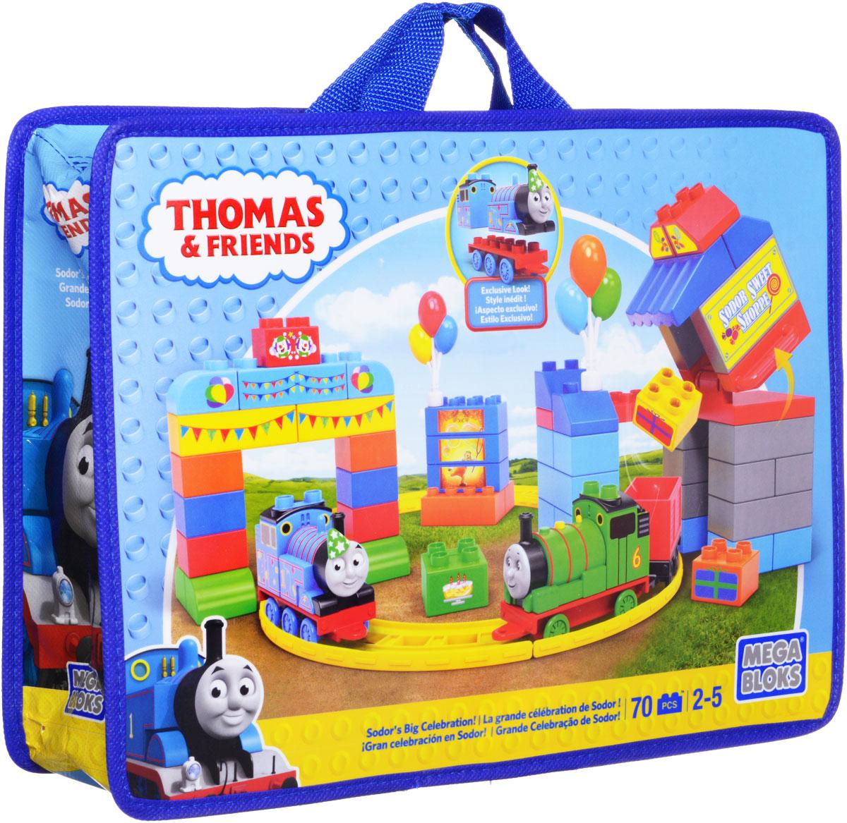Mega Bloks Томас и друзья Конструктор День рождения ТомасаCNJ13Набор-конструктор Mega Bloks День рождения Томаса - это новый конструктор от канадского бренда Mega Bloks с популярным героем из мультсериала Томас и его друзья. В этом конструкторе 70 элементов, из которых собирается железная дорога, сам паровозик Томас и железнодорожная станция. Вы можете перестраивать конструктор любым образом: каким будет станция, зависит только от вашей фантазии. Кроме того, в комплект входят наклейки для украшения построек. Конструктор хранится в удобной сумке из экологически чистых материалов, которая входит в комплект.