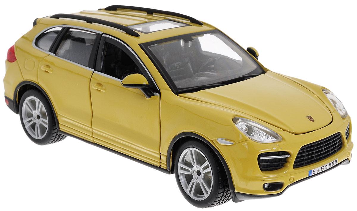 Bburago Модель автомобиля Porsche Cayenne Turbo цвет желтый18-21056_желтыйМодель автомобиля Porsche Cayenne Turbo предназначена для тех, кто любит роскошь и высокие скорости. Благодаря броской внешности, а также великолепной точности, с которой создатели этой модели масштабом 1/24 передали внешний вид настоящего автомобиля, машинка станет подлинным украшением любой коллекции авто. Машинка будет долго служить своему владельцу благодаря металлическому корпусу с элементами из пластика. Передние двери машины и капот открываются. При повороте руля изменяют свое направление колеса. Шины обеспечивают отличное сцепление с любой поверхностью пола. Модель автомобиля Porsche Cayenne Turbo обязательно понравится вашему ребенку и станет достойным экспонатом любой коллекции.