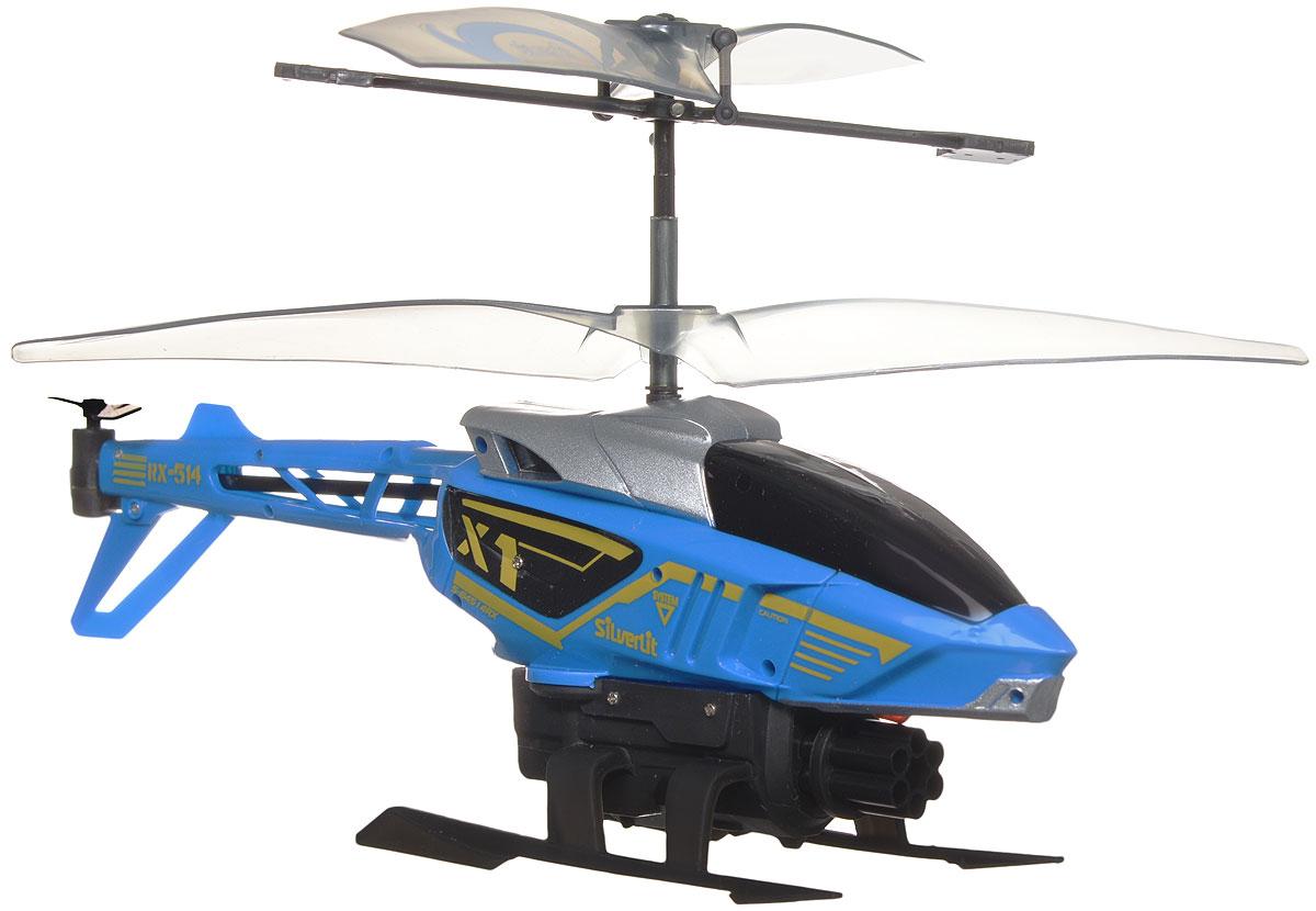 Silverlit Вертолет на радиоуправлении Heli Sniper цвет синий84514_синийВертолет на радиоуправлении Silverlit Heli Sniper с трехканальным цифровым управлением обязательно привлечет внимание вашего ребенка. Вертолет оснащен возможность точно управлять игрушкой во время полета. Он оснащен уникальной системой винта, которая способствует стабильному подъему. С игрушкой можно играть и на улице, если безветренная погода, и в закрытом помещении. У вертолета имеется контроль скорости, он может стрелять стрелами (8 штук в комплекте), во время стрельбы производится специальный световой эффект. Вертолет может летать вверх/вниз, вперед, вправо/влево. Зарядка аккумулятора осуществляется от пульта управления. Вертолет работает от встроенного аккумулятора (входит в комплект). Для работы пульта управления необходимо докупить 6 батареек напряжением 1,5V типа АА (в комплект не входят).
