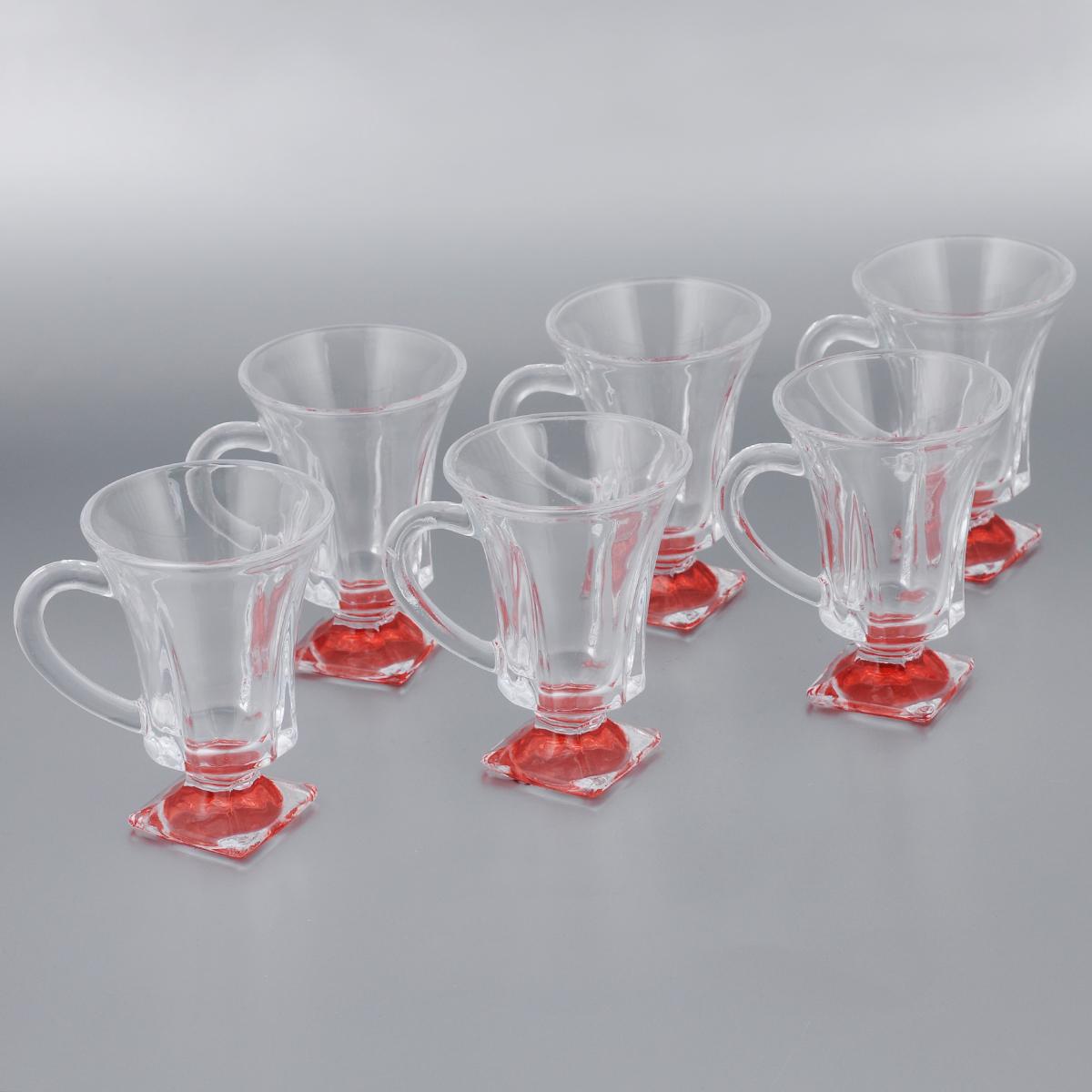 Набор стаканов для глинтвейна Mayer & Boch Loraine, цвет: прозрачный, красный, 150 мл, 6 шт20220_красныйНабор Mayer & Boch Loraine состоит из шести стаканов, выполненных из прочного стекла. Предметы набора имеют цветную ножку и декорированы рельефом. Они излучают приятный блеск и издают мелодичный звон. Для удобства изделия оснащены изящной ручкой. Набор Mayer & Boch Loraine прекрасно оформит интерьер кабинета или гостиной и станет отличным дополнением бара. Такой набор также станет хорошим подарком к любому случаю. Диаметр стакана (по верхнему краю): 8 см. Высота стакана: 11 см.