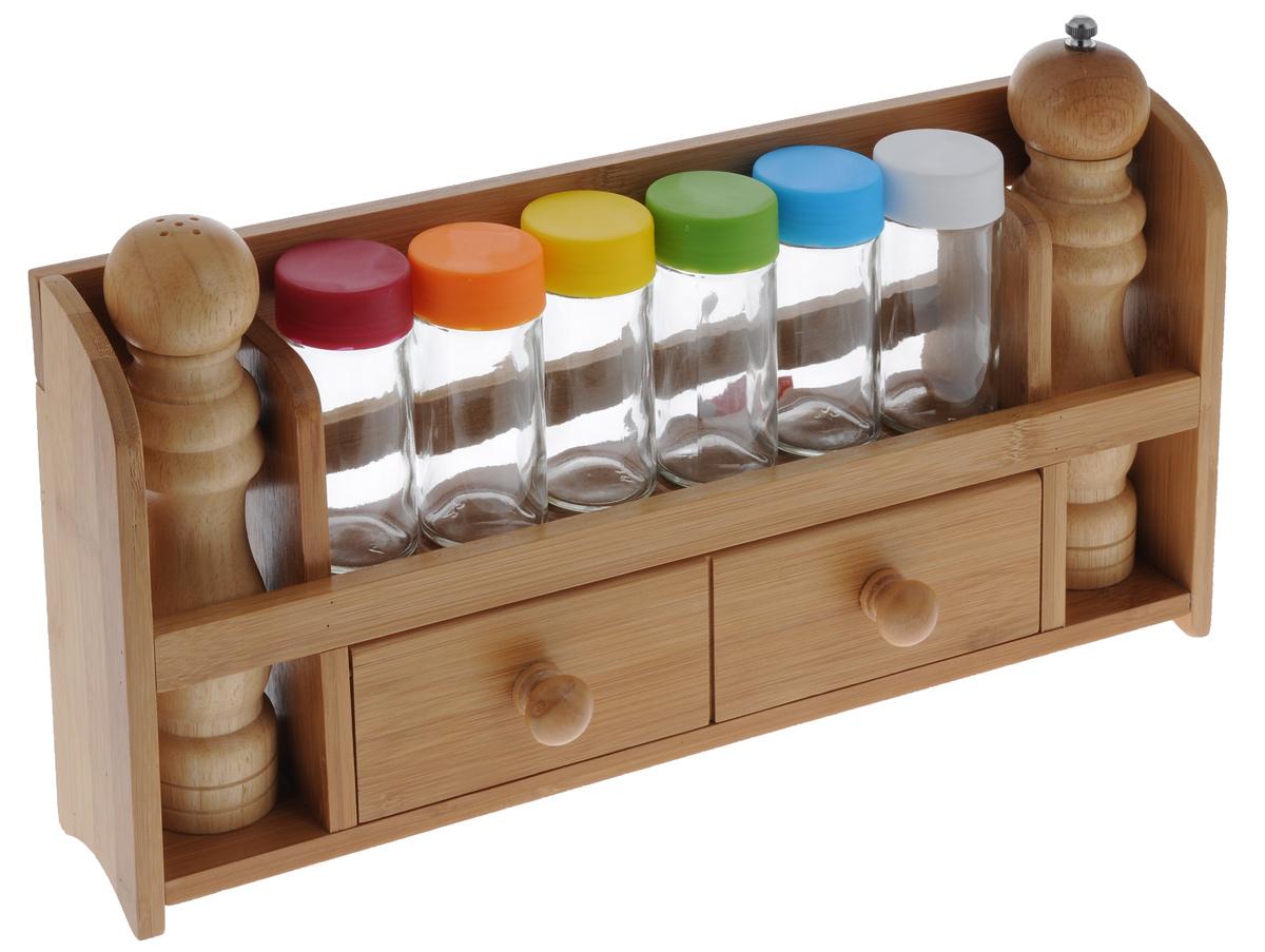Набор для специй Mayer & Boch, 9 предметов. 2327323273Набор для специй Mayer & Boch состоит из бамбуковой подставки, 6 стеклянных баночек с цветными пластиковыми крышками, 1 деревянной солонки и 1 деревянной мельницы для перца. Подставку можно закрепить на стене с помощью саморезов (входят в комплект). Подставка дополнена отделением с откидной дверцей. Оригинальный дизайн набора для специй Mayer & Boch Бамбук придется по вкусу и ценителям классики, и тем, кто предпочитает утонченность и изысканность. Такой набор настроит на позитивный лад и подарит хорошее настроение всем, кто любит готовить. Размер баночек: 4 см х 4 см х 10 см. Размер солонки: 5 см х 5 см х 20 см. Размер мельницы для перца: 5 см х 5 см х 21,5 см. Размер подставки: 41 см х 7 см х 21 см.