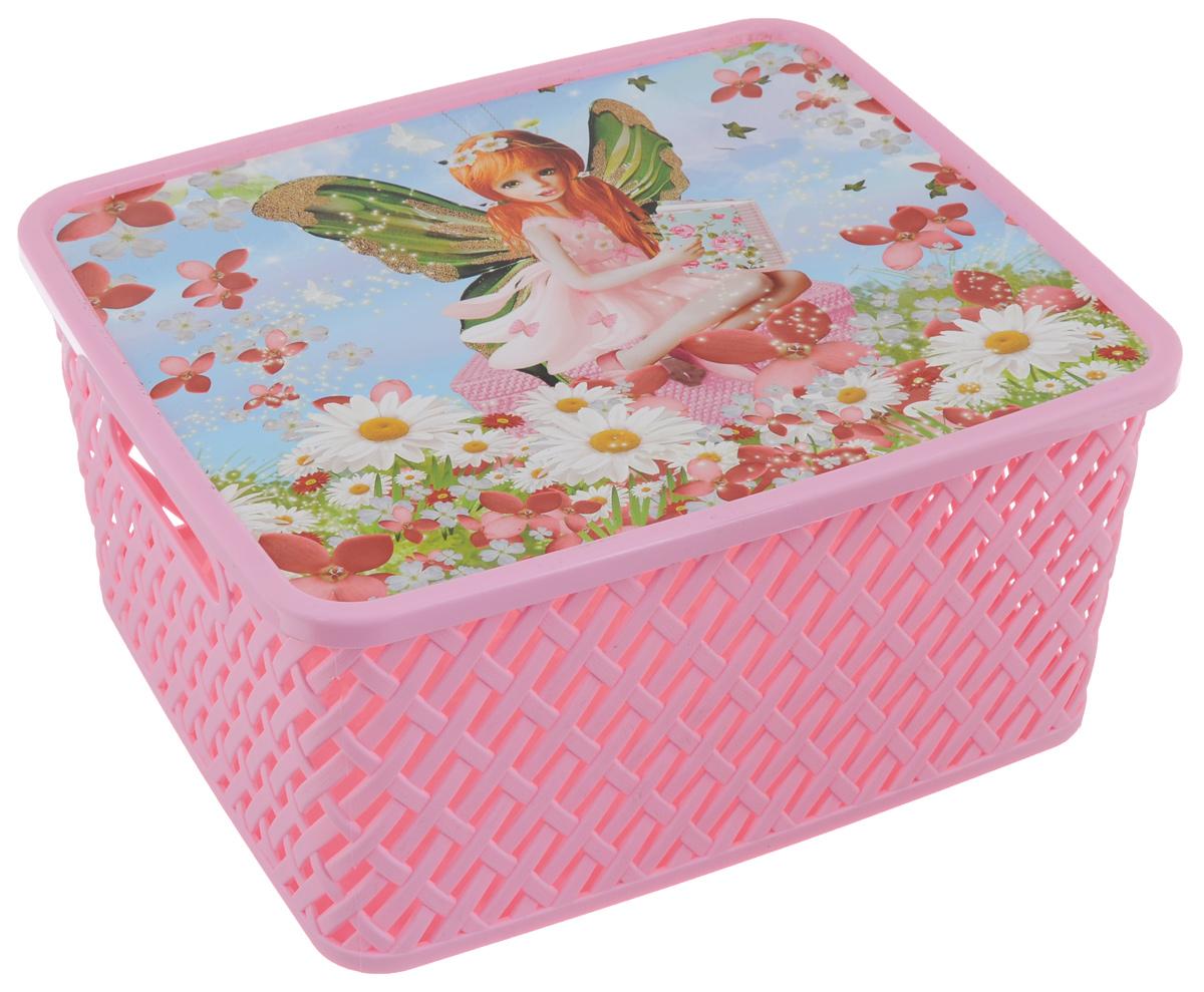 Корзина универсальная Альтернатива Маленькая фея, с крышкой, цвет: светло-розовый, 35 х 30 х 17,5 смМ3827Прямоугольная корзина Маленькая фея изготовлена из высококачественного пластика и декорирована перфорацией. Крышка украшена изображением чудесной маленькой феей. Она предназначена для хранения различных мелочей дома или на даче. Позволяет хранить мелкие вещи, исключая возможность их потери. Корзина очень вместительная. Элегантный выдержанный дизайн позволяет органично вписаться в ваш интерьер и стать его элементом.