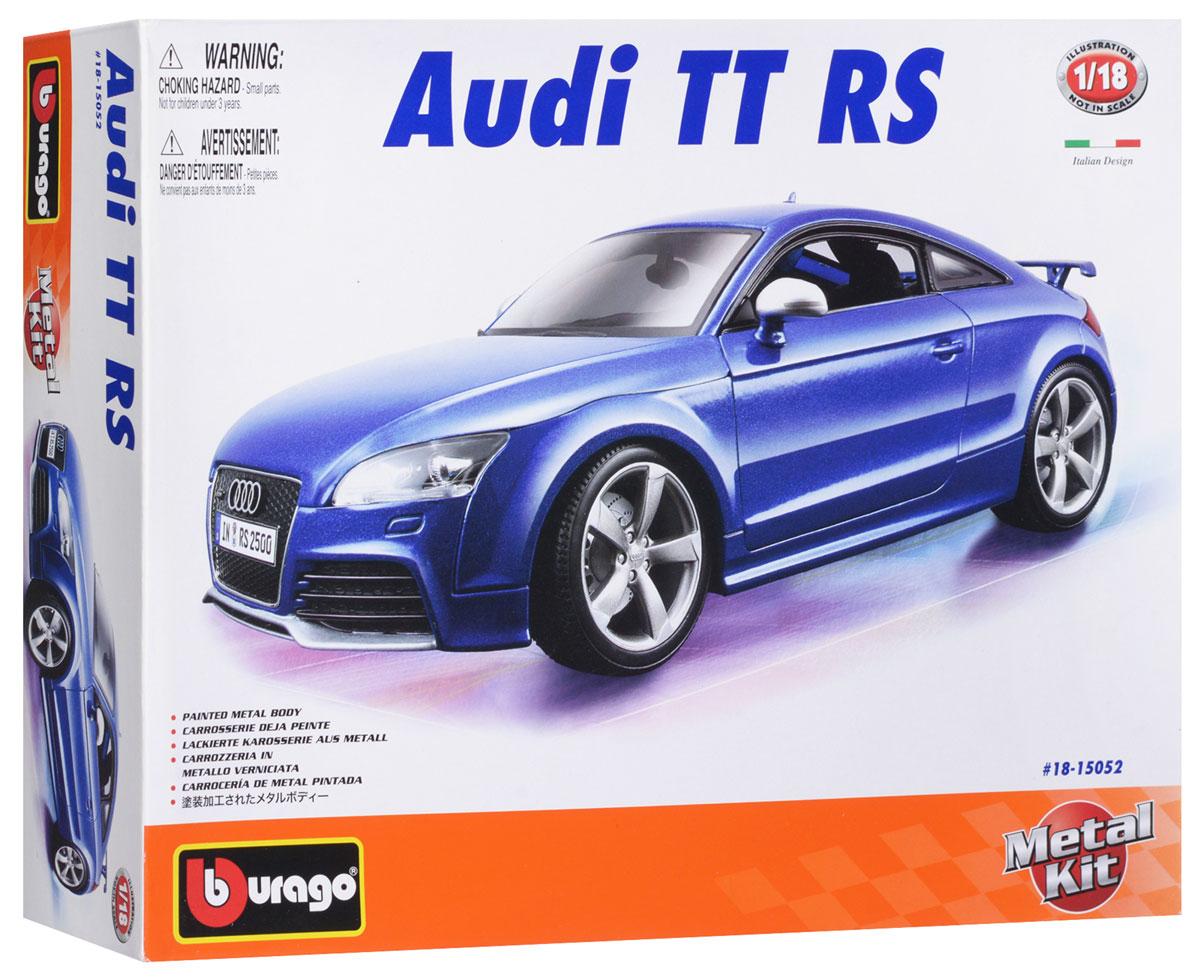 Bburago Сборная модель автомобиля Audi TT RS18-15052Стильная коллекционная модель автомобиля Bburago Audi TT RS привлечет к себе внимание не только детей, но и взрослых. Модель представлена в масштабе 1:18 и в точности воспроизводит все детали внешнего облика реального автомобиля Audi TT RS. Корпус автомобиля выполнен из металла с использованием пластиковых элементов, колеса - из резины. Машинка оборудована открывающимися дверцами и подвижной рулевой системой и колесами. В комплекте: элементы для сборки модели, наклейки и схематичная инструкция по сборке. Модель собирается без использования клея.
