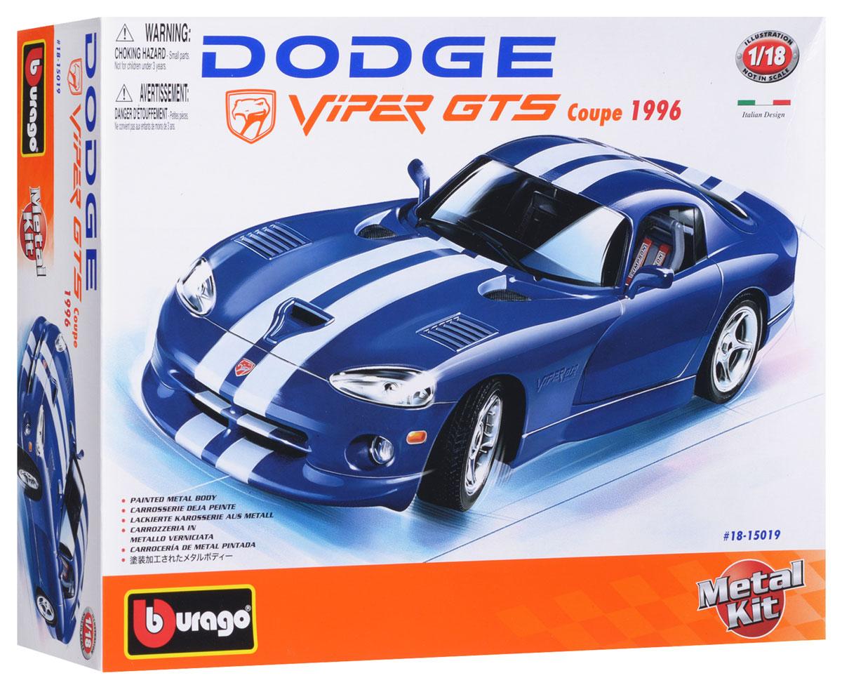 Bburago Сборная модель автомобиля Dodge Viper GTS Coupe 199618-15019_синийСтильная коллекционная модель автомобиля Bburago Dodge Viper GTS Coupe 1996 привлечет к себе внимание не только детей, но и взрослых. Модель представлена в масштабе 1:18 и в точности воспроизводит все детали внешнего облика реального автомобиля Dodge Viper GTS Coupe 1996 года. Корпус автомобиля выполнен из металла с использованием пластиковых элементов, колеса - из резины. Машинка оборудована открывающимися дверцами и подвижной рулевой системой и колесами. В комплекте: элементы для сборки модели, наклейки и схематичная инструкция по сборке. Модель собирается без использования клея.