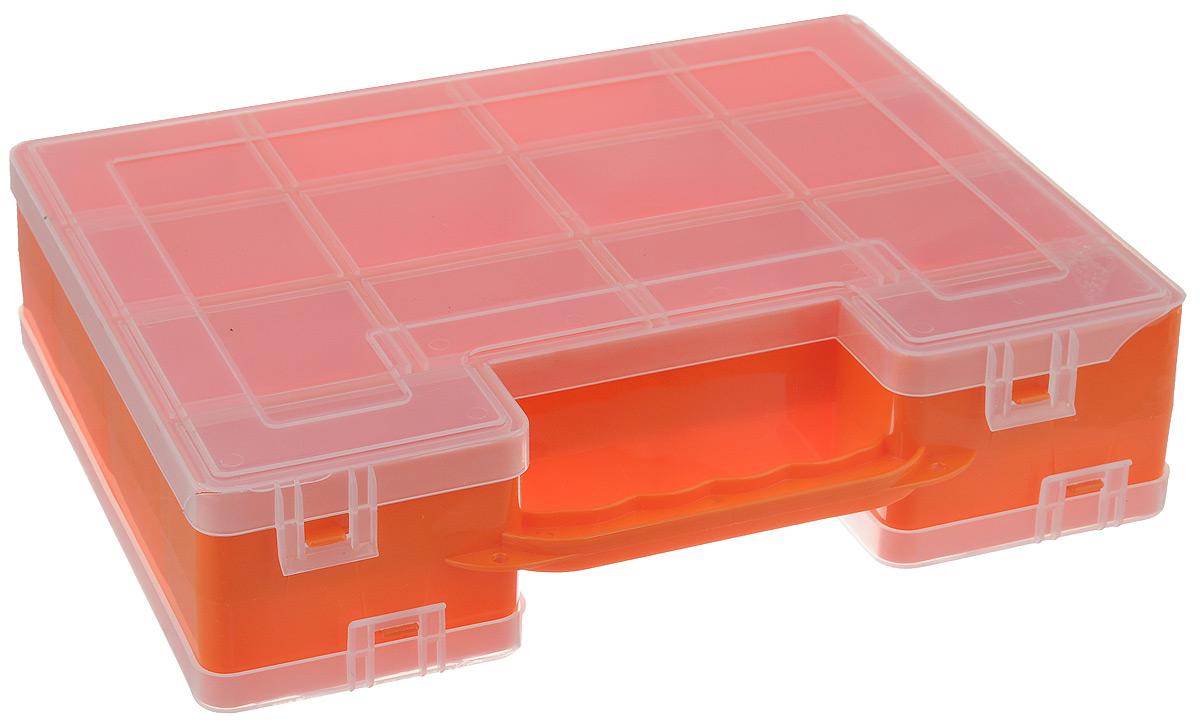 Органайзер для инструментов Idea, двухсторонний, цвет: оранжевый, 27,2 см х 21,7 см х 6,7 смМ 2956_оранжевыйДвухсторонний органайзер Idea, изготовленный из пластика, выполнен в форме кейса. Органайзер служит для хранения и переноски инструментов. Внутри - 14 отделений с одной стороны и 9 с другой. Органайзер надежно закрывается при помощи пластмассовых защелок. Крышка выполнена из прозрачного пластика, что позволяет видеть содержимое. Размеры секций (лицевая сторона): - размер (12 секций): 6,6 см х 5,3 см х 3 см; - размер (2 секций): 8,1 см х 3,3 см х 3 см. Размеры секций (задняя сторона): - размер (2 секций): 13,2 см х 5,3 см х 3 см; - размер (1 секции): 26,6 см х 5,3 см х 3 см; - размер (4 секций): 6,6 см х 5,3 см х 3 см; - размер (2 секций): 8,1 см х 3,3 см х 3 см.
