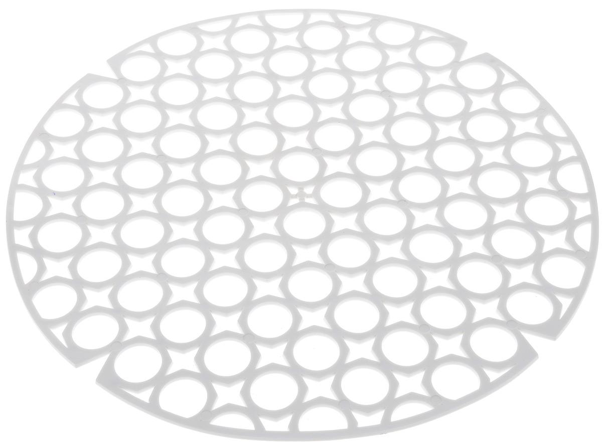 Коврик для раковины York, цвет: белый, диаметр 27,5 см9560Стильный и удобный коврик для раковины York изготовлен из сложных полимеров. Он одновременно выполняет несколько функций: украшает, защищает мойку от царапин и сколов, смягчает удары при падении посуды в мойку. Коврик также можно использовать для сушки посуды, фруктов и овощей. Он легко очищается от грязи и жира. Диаметр: 27,5 см.