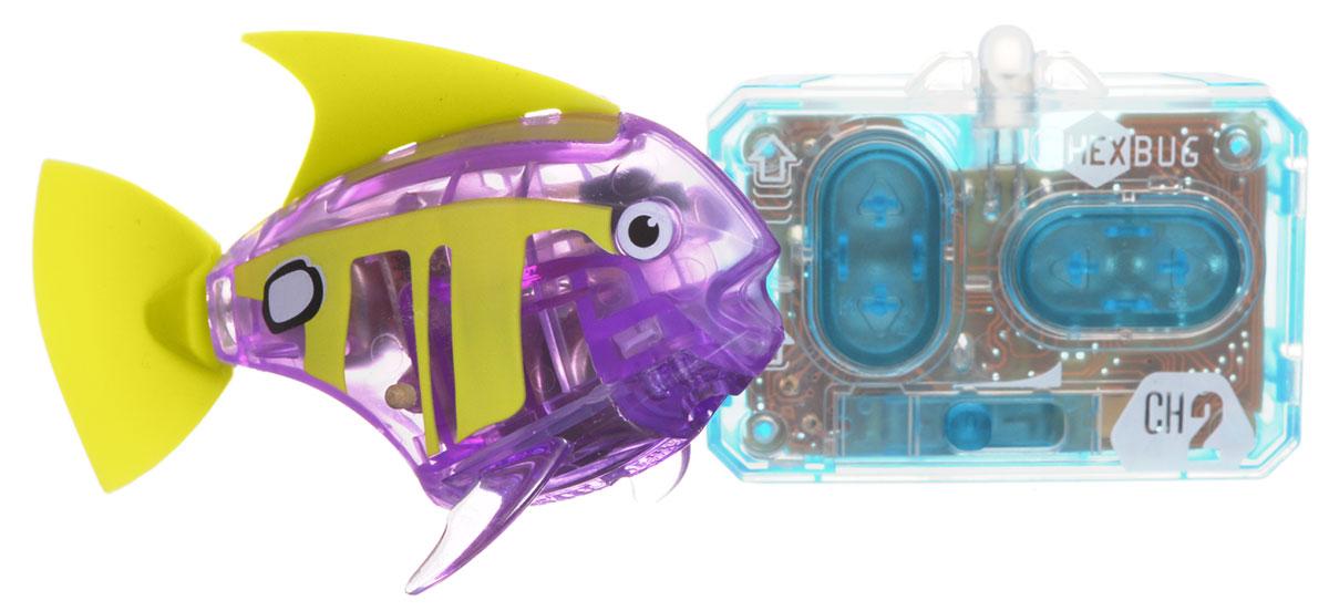 Hexbug Микро-робот на радиоуправлении Рыба-ангел цвет фиолетовый460-4086_4Hexbug Aquabot 3.0 RC - это обновленная версия робо-рыбки, управляемая при помощи пульта ДУ. Кроме того, управляемая рыбка-ангел получила яркий и привлекательный окрас плавничков и хвостика, стильный декор и умные, словно настоящие, глазки. Наделив рыбку пультом ДУ, разработчики не лишили ее самостоятельности. Если вы не хотите управлять рыбкой, то просто пустите робо-рыбку в аквариум и она будет плавать сама. Не утратила прирученная рыбка и первоначальных свойств: как и раньше аквабот просыпается от стука по стенкам аквариума и светится в темноте. Питание: 4 батарейки типа AG13/LR44 (входят в комплект).