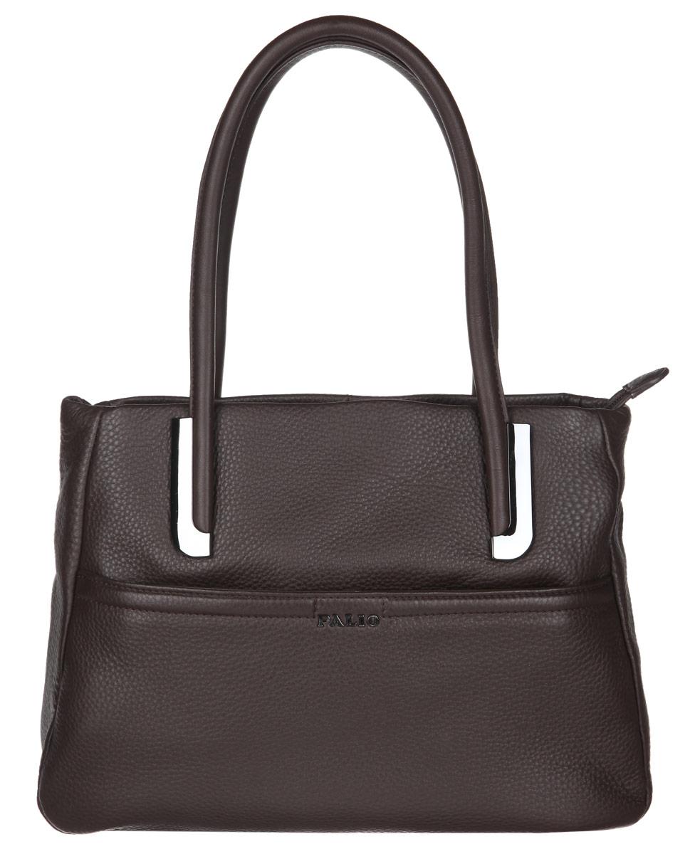 Сумка женская Palio, цвет: темно-коричневый. 11840A-C211840A-C2Стильная женская сумка Palio выполнена из натуральной кожи с фактурным тиснением. Изделие имеет одно отделение, разделенное пополам карманом-средником на застежке-молнии. Застегивается сумка на застежку-молнию. Внутри находятся два открытых накладных кармана и прорезной карман на застежке-молнии. Снаружи, на передней стенке расположен накладной карман на застежке-молнии. На задней стенке предусмотрен дополнительный прорезной карман на застежке-молнии. Сумка оснащена двумя удобными ручками. Изделие упаковано в фирменный чехол. Основание защищено от повреждений металлическими ножками. Сумка Palio - это стильный аксессуар, который подчеркнет вашу изысканность и индивидуальность и сделает ваш образ завершенным.