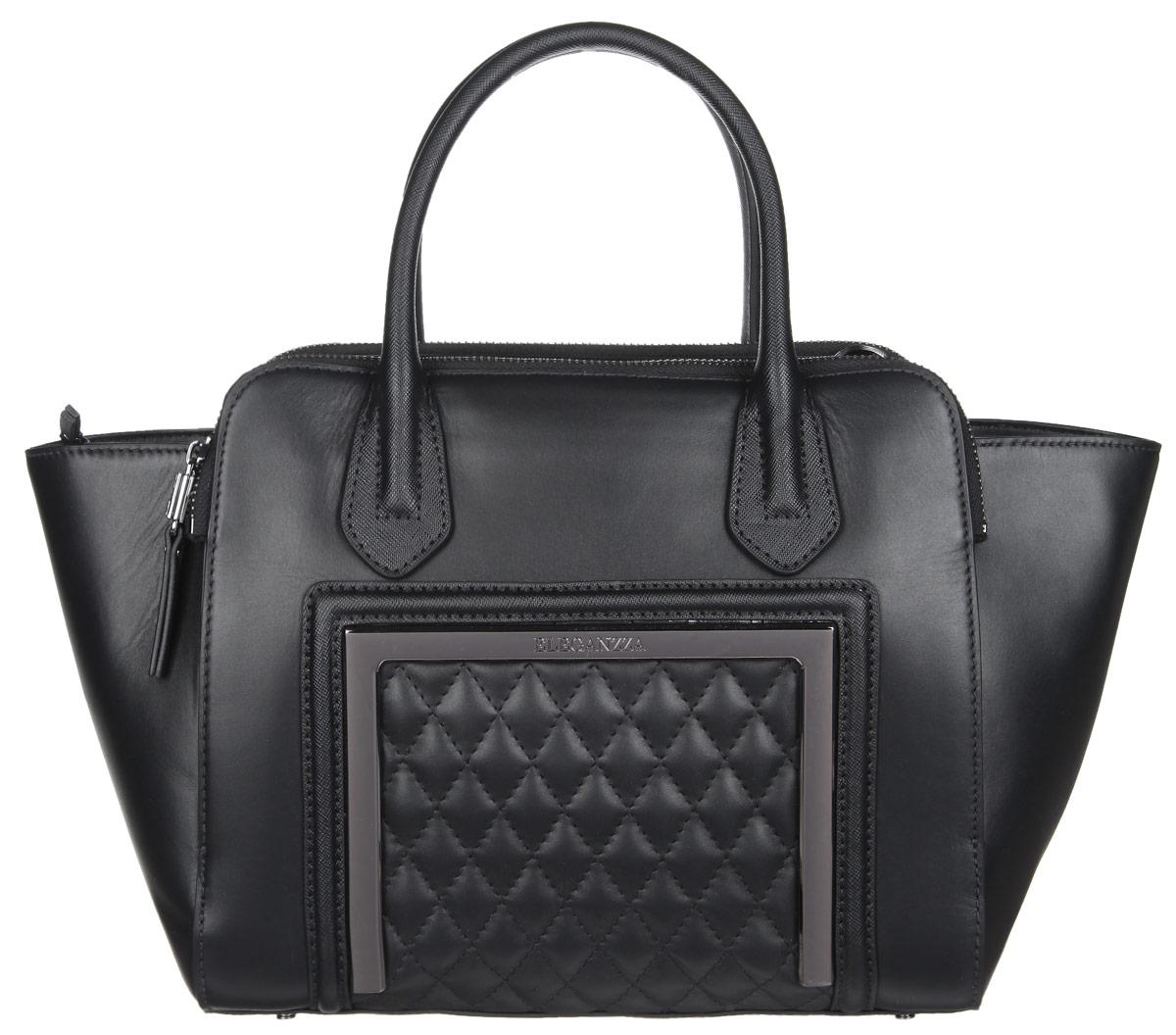Сумка женская Eleganzza, цвет: черный. Z-14245-2Z-14245-2Стильная женская сумка Eleganzza выполнена из натуральной кожи. Изделие имеет одно основное отделение, закрывающееся на застежку-молнию. Внутри находится прорезной карман на застежке-молнии и два открытых накладных кармашка. Снаружи, на задней и передней стенках расположены накладные карманы на застежках-молниях. Сумка оснащена двумя удобными ручками. В комплект входит съемный плечевой ремень, который регулируется по длине, и фирменный чехол для хранения. Основание изделия защищено от повреждений металлическими ножками. Дизайн сумки позволит вам подчеркнуть свою индивидуальность, и сделает ваш образ изысканным и завершенным.