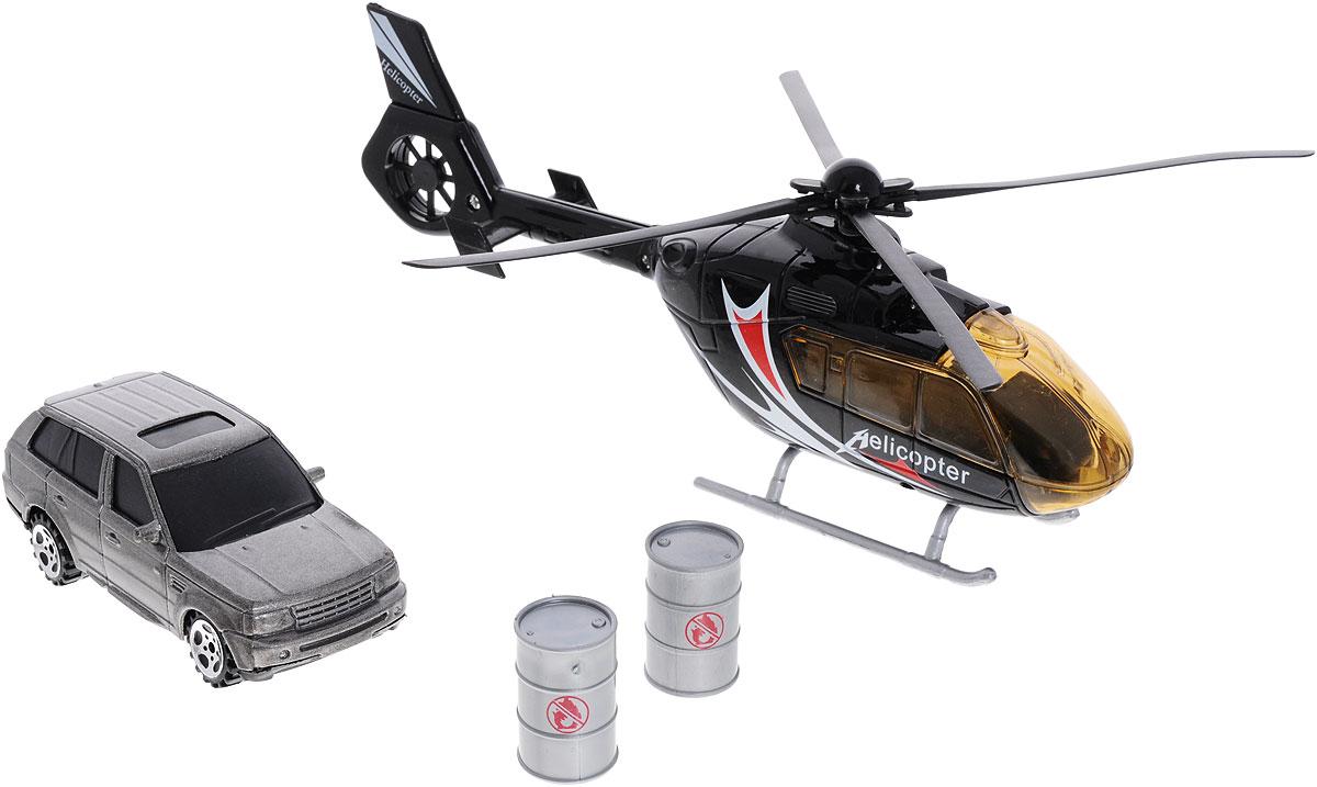Big motors Набор игровой Вертолет и машинка22990-81009-2;JL81009-2_черный, серыйНабор игровой Big motors Вертолет и машинка включает в себя вертолет, машинку, 2 бочки. Лопасти вертолета и колеса машинки вращаются, при нажатии на пропеллер включаются световые и звуковые эффекты. Этот чудесный набор будет отличным подарком любому мальчишке. Теперь устроить головокружительные трюки с участием вертолета и машины проще простого! Игрушка работает от 3 батареек типа LR54 (LR 1130) (набор комплектуется демонстрационными).
