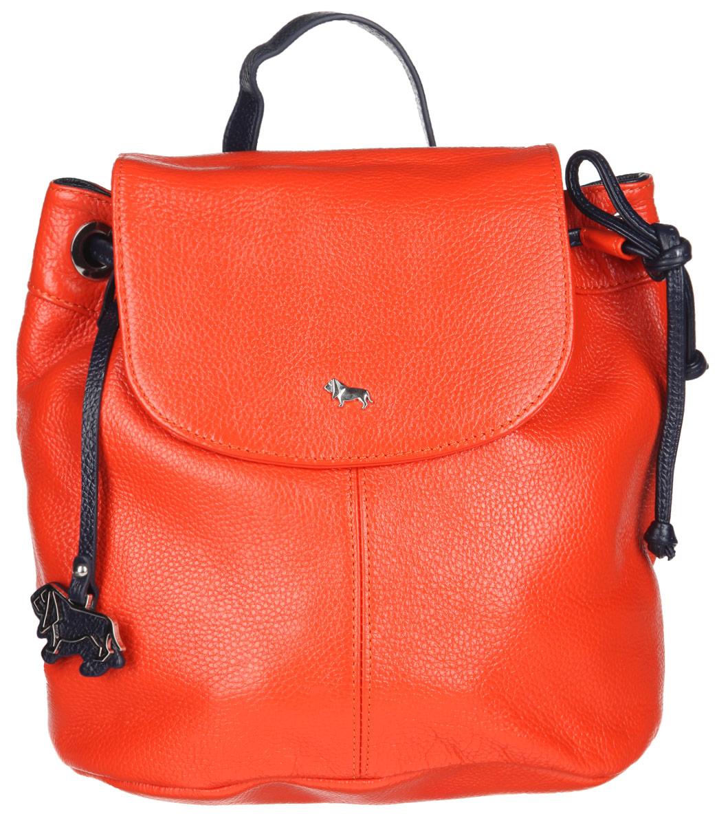 Рюкзак женский Labbra, цвет: оранжевый, темно-синий. L-9916-1L-9916-1Стильный женский рюкзак Labbra выполнен из натуральной кожи с фактурным тиснением. Изделие имеет одно отделение, закрывающееся на клапан с магнитом и дополнительно на затягивающийся шнурок. Внутри находится прорезной карман на застежке-молнии и два открытых накладных кармана. Снаружи, на задней стенке расположен прорезной карман на застежке- молнии. Рюкзак оснащен съемной лямкой, регулируемой по длине, которая позволяет носить изделие на плечах, или в руках, как сумку. Изделие украшено фирменным брелоком. В комплект входит фирменный чехол для хранения. Стильный рюкзак Labbra прекрасно дополнит ваш образ.