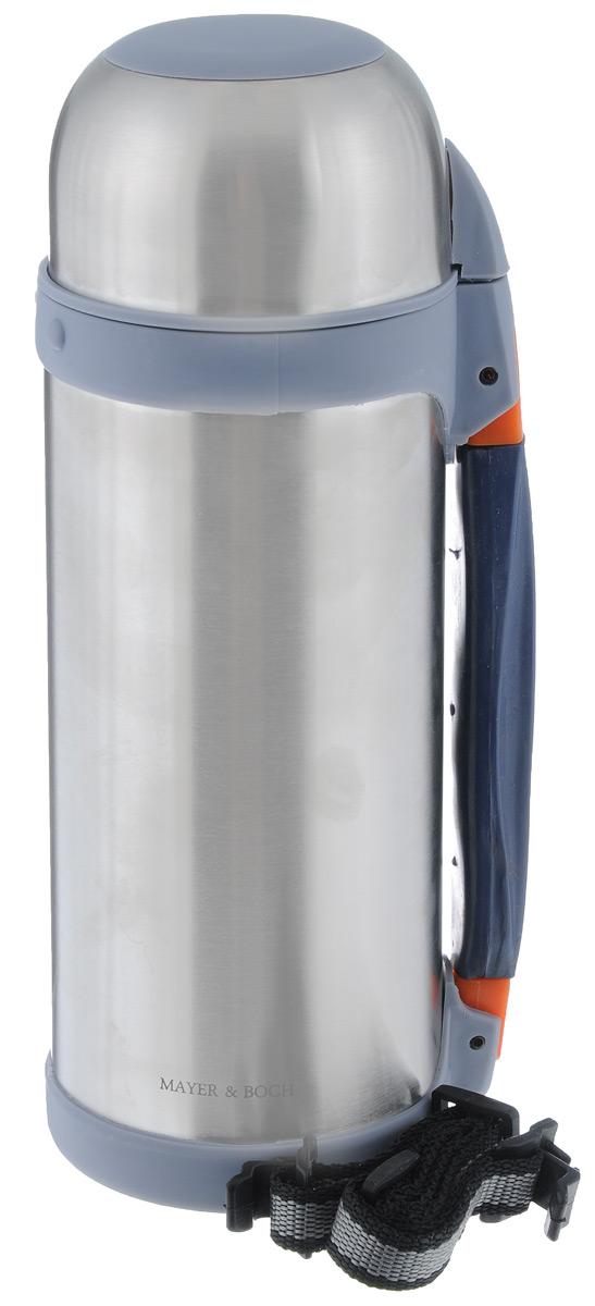 Термос Mayer & Boch, 1 л. 2315123151Термос Mayer & Boch изготовлен из высококачественной нержавеющей стали. Термос предназначен для хранения горячих и холодных напитков и укомплектован откручивающейся пробкой с кнопкой для более удобного разлива жидкостей. Такая пробка надежна, проста в использовании и позволяет дольше сохранять тепло благодаря дополнительной теплоизоляции. Изделие также оснащено крышкой-чашкой, дополнительным ремешком и раздвижной резиновой ручкой для удобной переноски термоса. Термос отлично подходит для использования дома, в школе, на природе, в походах. Сохраняет температуру напитков на протяжении 12 часов. Термос частично состоит из пластиковых частей, поэтому не оставляйте его рядом с открытым огнем. Не наливайте в термос газированные напитки. Никогда не нагревайте термос в СВЧ. Не подходит для использования в посудомоечной машине.