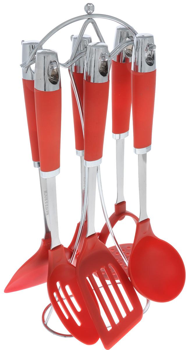 Набор кухонных принадлежностей Mayer & Boch, цвет: металлик, красный, 7 предметов22423Набор кухонных принадлежностей Mayer & Boch станет незаменимым помощником на кухне, поскольку в набор входят самые необходимые кухонные аксессуары: шумовка, лопатка с прорезями, половник, картофелемялка, ложка с прорезями, лопатка. Для приборов предусмотрена элегантная металлическая подставка. Ручки изделий, выполненные из пластика, оснащены отверстием для подвешивания на крючок. Рабочие поверхности также выполнены из пластика. Размер подставки: 15 см х 8 см х 40 см. Длина половника: 32 см. Диаметр рабочей поверхности половника: 8 см. Длина лопатки с прорезями: 35 см. Размер рабочей поверхности лопатки с прорезями: 12 см х 7,5 см. Длина ложки: 33,5 см. Размер рабочей поверхности ложки: 10 см х 5,5 см. Длина лопатки: 33 см. Размер рабочей поверхности лопатки: 10 см х 9,5 см. Длина шумовки: 34 см. Размер рабочей поверхности шумовки: 11 см х 10 см. Длина картофелемялки: 32 см. Размер рабочей поверхности...