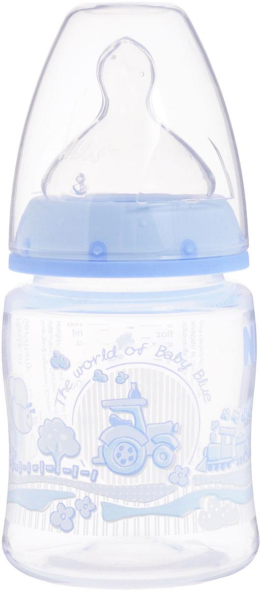 NUK Бутылочка пластиковая Baby Blue с силиконовой соской для молока 150 мл от 0 до 6 месяцев