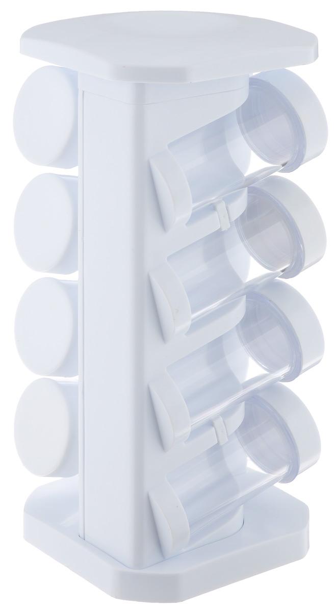 Набор для специй Mayer & Boch, 9 предметов. 2045720457Набор для специй Mayer & Boch состоит из 8 баночек для специй и подставки. Баночки выполнены из высококачественного пластика и оснащены пластиковыми крышками белого цвета. Крышки плотно закручиваются, предотвращая просыпание. Герметичное закрытие обеспечит самое лучшее хранение: специи всегда будут свежими. Прозрачные стенки позволяют видеть содержимое баночек. Баночки можно наполнять любыми используемыми вами специями. Стильная вращающаяся подставка, изготовленная из пластика, делает хранение баночек более удобным. Данный набор подходит для любой кухни. Модный, элегантный дизайн сделает набор прекрасным украшением кухни. Наслаждайтесь приготовлением пищи с набором для специй Mayer & Boch. Диаметр баночки: 4,5 см. Высота баночки: 9 см. Размер подставки (ДхШхВ): 12 см х 12 см х 27 см.