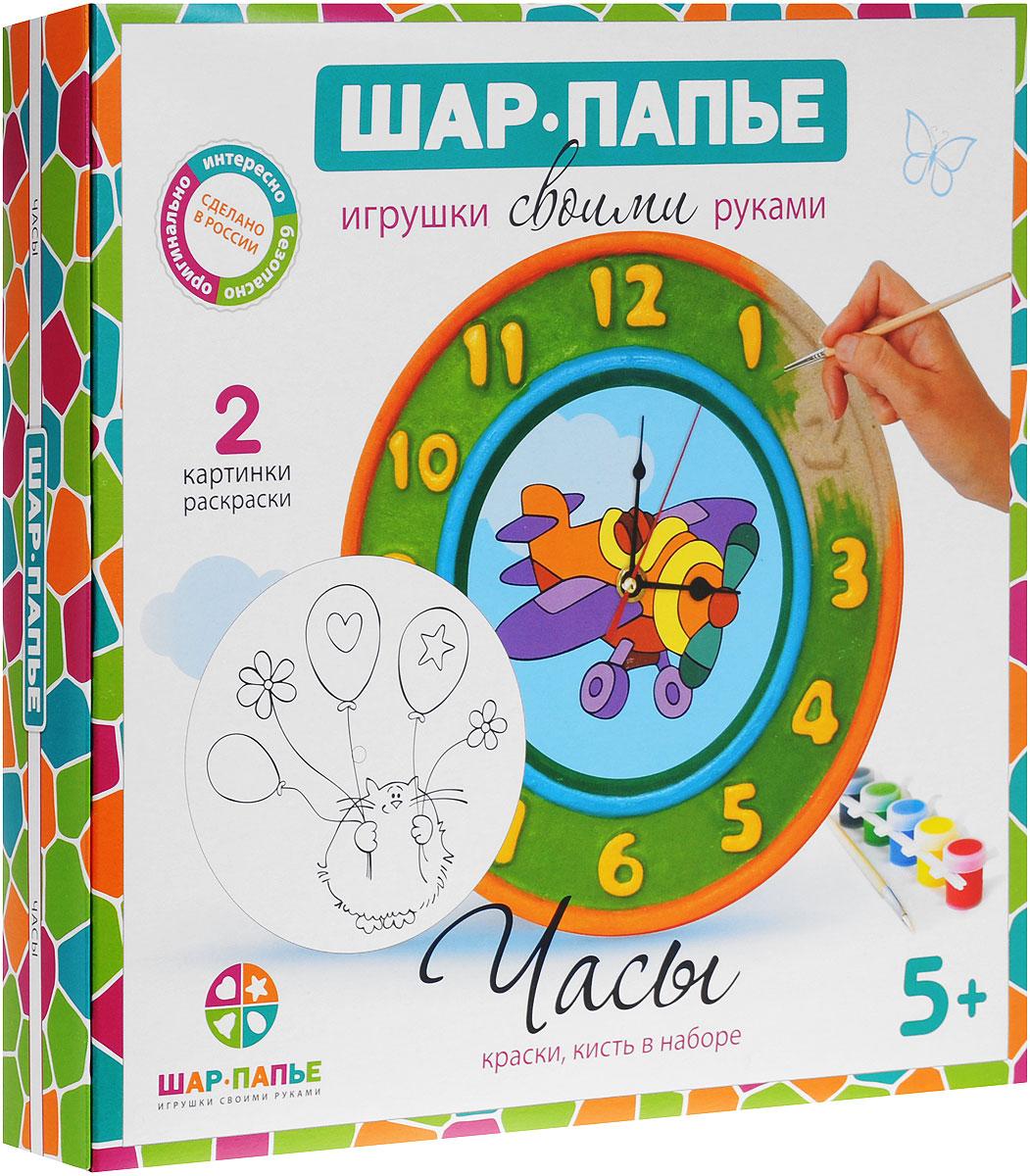 Шар-папье Набор для изготовления игрушки ЧасыВ02643Набор для изготовления игрушки Шар-папье Часы позволит вам и вашему ребенку своими руками сделать настоящие часы со стрелками, работающие от батарейки. Набор включает в себя все необходимые элементы: заготовку из прессованной бумажной массы, 2 вставки-раскраски, акриловые краски 6 цветов, кисточку, часовой механизм со стрелками и подробную иллюстрированную инструкцию на русском языке. Папье-маше - это легко поддающаяся обработке бумажная или картонная масса. Наклеивая полоски папье-маше на заранее подготовленную модель и высушивая изделие, можно получить легкий и удобный для росписи предмет. С давних времен технику папье-маше использовали для изготовления самых разнообразных шкатулок, масок, игрушек, подносов, рам, а также карет и предметов мебели. Для работы игрушки необходима 1 батарейка типа АА (не входит в комплект).
