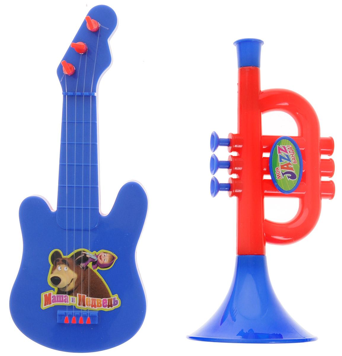 Маша и Медведь Набор музыкальных инструментов цвет гитары синий1107305_синяя гитараУже с малых лет у детей может начать проявляться интерес к музыке, но настоящие инструменты малышу давать рано, поэтому лучшим решением в этой ситуации послужит набор музыкальных инструментов Маша и Медведь. Труба и гитара - яркие музыкальные игрушки. Юный музыкант сможет с помощью гитары извлекать достаточно мелодичные звуки, пощипывая пальчиками каждую струну отдельно или сразу несколько струн. Игра на музыкальном инструменте способствует развитию координации движений, ловкости, тактильных ощущений, моторики рук, слуха, прививает с детства любовь к музыке. Порадуйте своего малыша таким подарком!