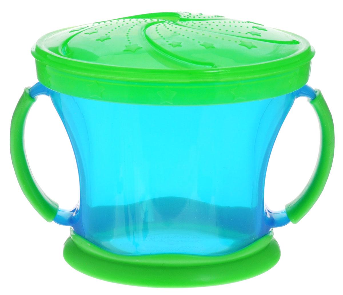 Munchkin Контейнер Поймай печенье, цвет: голубой, салатовый11006_голубой-салатовыйКонтейнер с ручками Munchkin Поймай печенье выполнен из безопасного пластика. Он идеально подходит, если нужно покормить малыша на ходу, чтобы закуска осталась в контейнере, а не на полу, не на сиденье автомобиля или коляски! Мягкие силиконовые лепестки-закрылки помогают ребенку подкрепиться самостоятельно, но предотвращают рассыпание содержимого контейнера. Регулируемая крышка позволит малышу вытащить печенья или других продуктов ровно столько, сколько сможет положить в рот за один раз, контейнер не откроется, даже если упадет и перевернется. Мягкие закрылки на крышке позволяют достать печенье или кусочки другой еды, минимально испачкав пальцы.