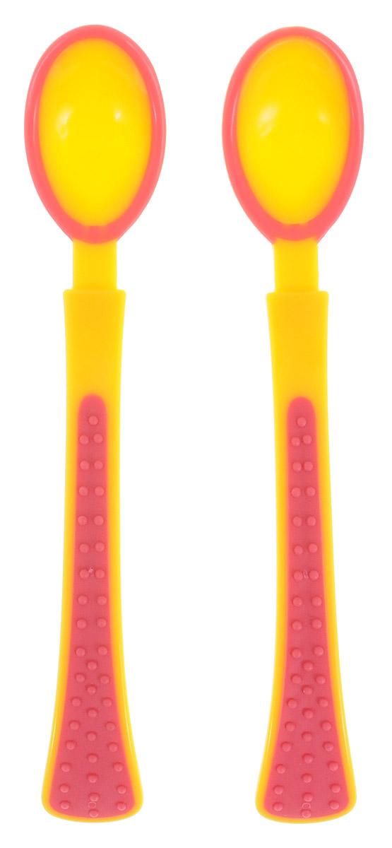 Bibi Ложка для кормления цвет желтый малиновый 2 шт