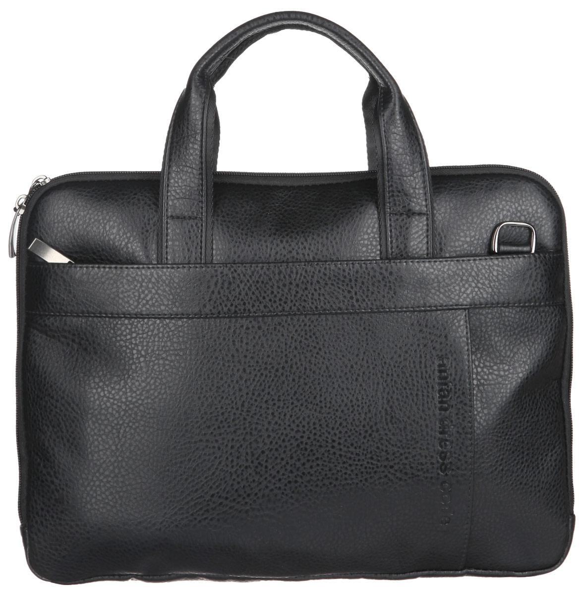 Сумка мужская Antan, цвет: черный. 8-1 В8-1 ВСтильная мужская сумка Antan выполнена из искусственной кожи, оформлена металлической фурнитурой и символикой бренда. Изделие содержит одно отделение, которое закрывается на застежку-молнию. Внутри размещен врезной карман на молнии. Снаружи, на передней и тыльной стенках сумки, расположены три накладных кармана, каждый из которых закрывается на застежку-молнию. Сумка оснащена двумя практичными ручками и съемным плечевым ремнем регулируемой длины, которые позволят носить изделие, как в руках, так и на плече. Сумка Antan прекрасно дополнит ваш деловой образ.