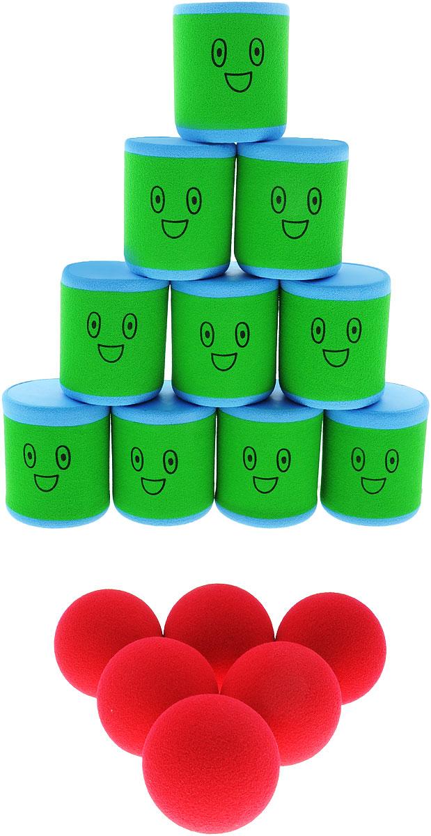 Safsof Игровой набор Городки цвет зеленый голубой красныйAT-01N(B)_зеленый, голубой, красныйИгровой набор Safsof Городки, изготовленный из вспененной резины и полимера, состоит из десяти ярких банок и шести мячиков. Цель игры: выбить как можно больше фигур, построенных из трех и более городков (банок), мячами с определенного расстояния. Каждый участник сбивает фигуру с одного и того же расстояния, на каждую фигуру дается три броска. Если игроку удается сбить фигуру с первого броска, он получает 3 балла, со второго - 2 и с третьего - 1. Выигрывает тот участник, который набирает большее количество баллов. Благодаря яркой расцветке и легкому и безопасному материалу, с этим набором можно играть не только на улице, но и дома.