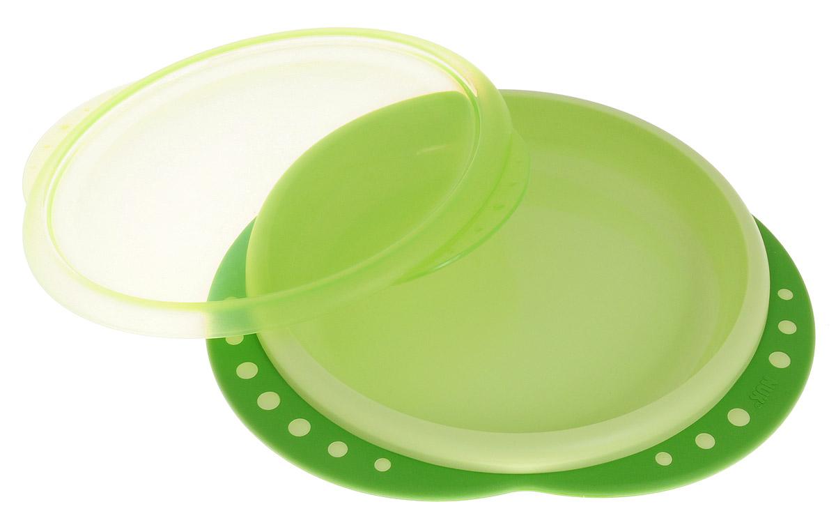 NUK Тарелка детская Easy Learning от 8 месяцев цвет зеленый10255049_зеленыйДетская тарелка NUK Easy Learning незаменима для приготовления, кормления и самостоятельного приема пищи для детей от 8 месяцев. Благодаря крышке пища остается свежей. Закруглённый край облегчает зачерпывание. Нескользящие ручки обеспечивают безопасность и удобство использования. Устойчивое, нескользкое дно для большей надежности. Изготовлена из высококачественного материала. Не содержит бисфенол-А. Подходит использования в микроволновой печи и посудомоечной машине.