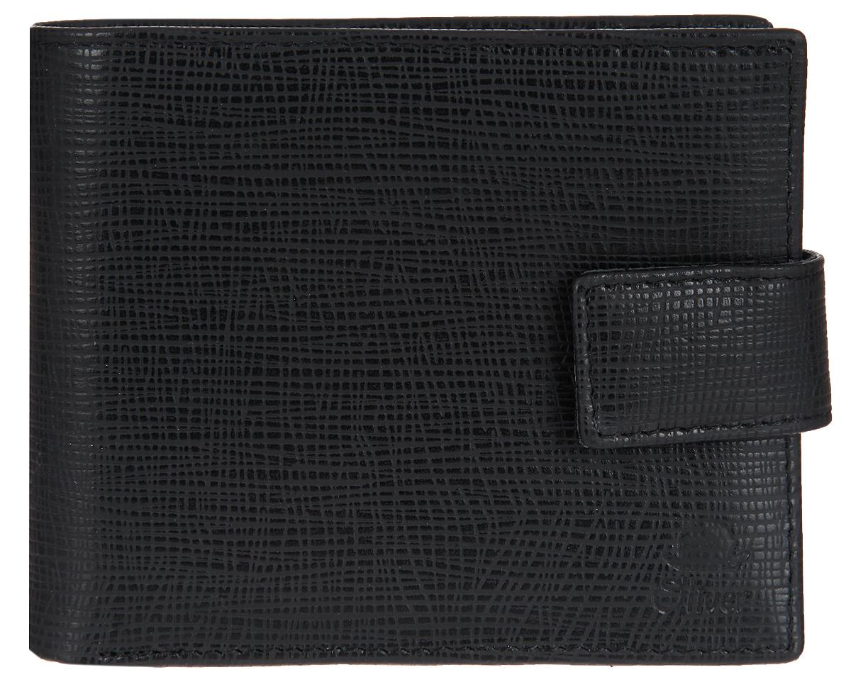 Портмоне мужское Dimanche Oliver, цвет: черный. 074074Стильное мужское портмоне Dimanche Oliver выполнено из натуральной кожи с фактурным тиснением. Закрывается изделие на хлястик с кнопкой. Внутри имеются три отделения для купюр, одно из которых на застежке-молнии, шесть кармашков для визиток и пластиковых карт, два потайных кармана и карман для мелочи, закрывающийся на клапан с кнопкой. Изделие упаковано в фирменную коробку. Стильное портмоне Dimanche Oliver станет отличным подарком для человека, ценящего качественные и практичные вещи.