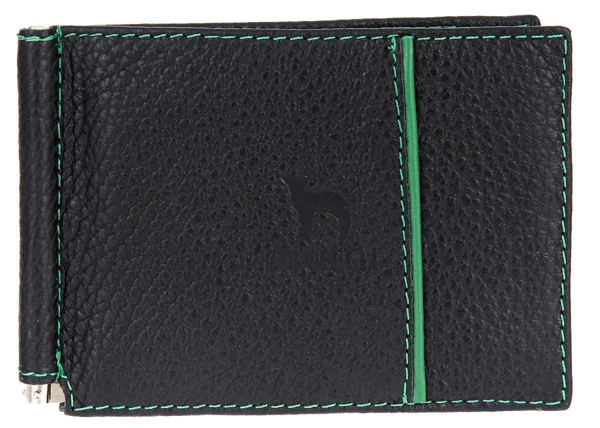 Зажим для денег женский Dimanche Mumi, цвет: черный, зеленый. 085085Женский зажим для денег Dimanche Mumi выполнен из натуральной кожи с фактурным тиснением и оформлен фирменным тиснением. Внутри имеются два потайных кармана и шесть отделений для визиток или пластиковых карт, а также металлический зажим для купюр, который фиксирует деньги в открытом положении. Такое изысканное изделие займет достойное место в вашей коллекции аксессуаров и станет отличным подарком для человека, ценящего качественные и стильные вещи!