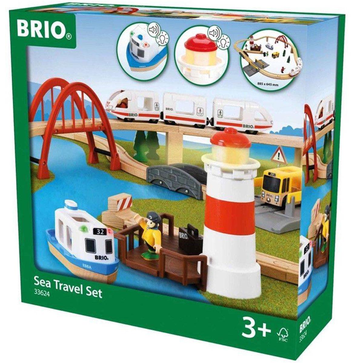 Brio Железная дорога Поездка к морю33624Вашему ребенку обязательно понравится железная дорога Brio Поездка к морю. Железная дорога расположена вблизи порта, откуда отходит паром. Игрушечным человечкам предстоит целое путешествие! Поезд движется по большому арочному мосту, пересекает автомобильную дорогу, маленький каменный мост, мимо маяка, сигналящего кораблям, и прибывает в порт. На крыше маяка и парома есть кнопки, включающие световые и звуковые эффекты. В комплект входит: 2 локомотива, 1 вагон, автобус, 3 фигурки, 2 моста, маяк, причал, переезд, чемодан, дорожный знак, спасательный круг, 2 дерева, элементы железнодорожного полотна. Соединяются локомотивы с вагоном с помощью магнитов. Набор совместим со всеми железными дорогами и паровозиками Brio. Размер железной дороги в сборе - 88,5 см х 64,5 см. Для работы игрушки необходимы 4 батарейки типа LR44, по 2 батарейки на маяк и паром (товар комплектуется демонстрационными).