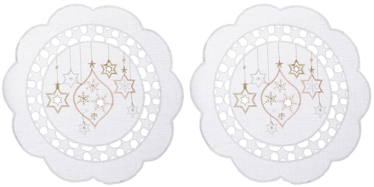 Салфетка Schaefer, круглая, цвет: белый, диаметр 30 см, 2 шт. 07397-31507397-315Круглая салфетка Schaefer, выполненная из полупрозрачного полиэстера, станет изысканным украшением интерьера. Изделие декорировано вышивкой в виде елочных игрушек и красивой перфорацией по краю в виде звездочек. Изделия из искусственных волокон легко стирать: они не мнутся, не садятся и быстро сохнут, они более долговечны, чем изделия из натуральных волокон. Вы можете использовать салфетку для декорирования стола, комода, журнального столика. В любом случае она добавит в ваш дом стиля, изысканности и неповторимости и убережет мебель от царапин и потертостей.