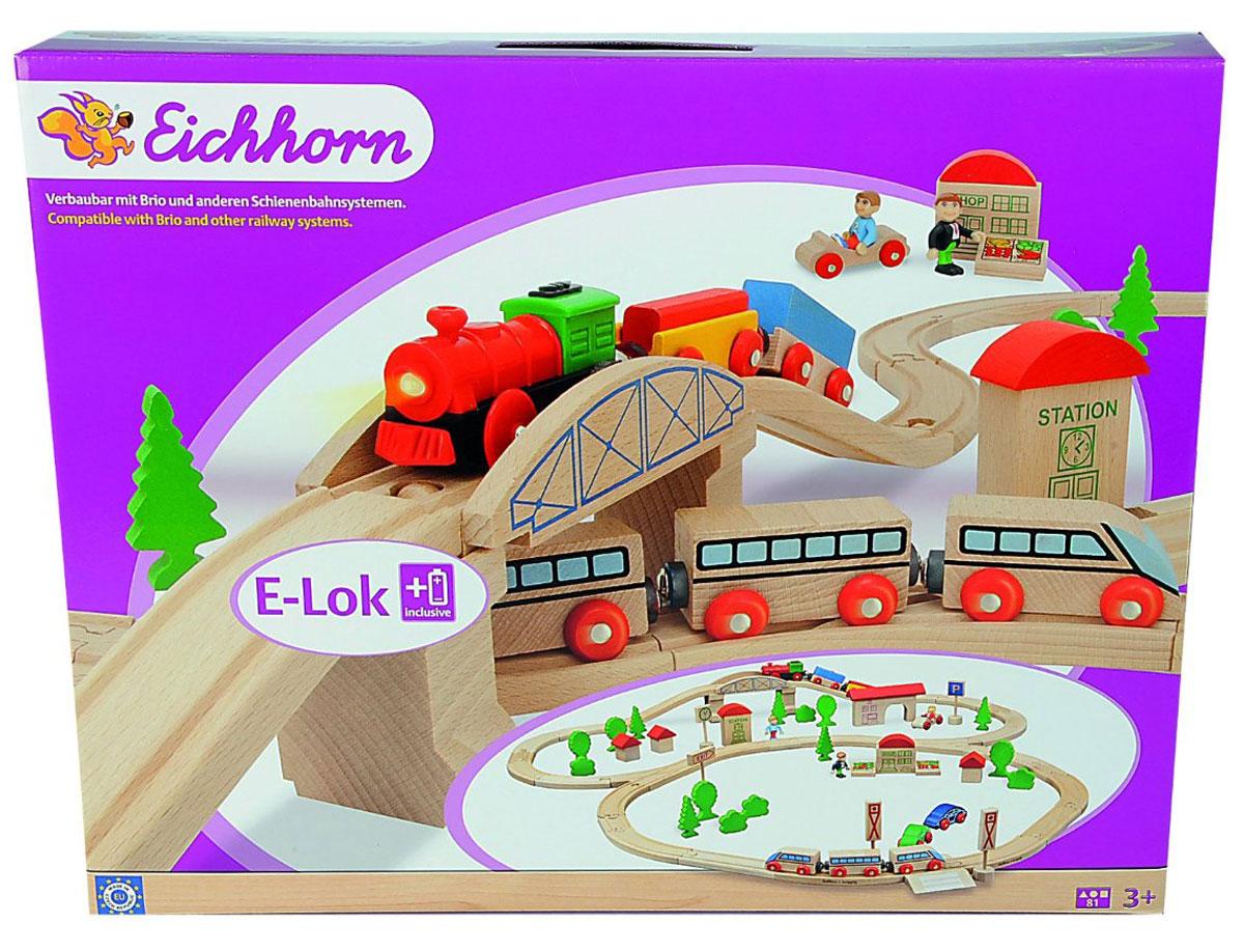 Eichhorn Железная дорога с мостом и поездами100001205Вашему ребенку обязательно понравится игровой набор Железная дорога. В набор входят два поезда с вагончиками, машинки, дорожные знаки и элементы для железнодорожного полотна. Набор дополнен деревьями, фигурками людей и станционными будками. Все элементы выполнены из натурального дерева. Вагончики дополнены магнитами, с помощью них, они присоединяются к любому другому паровозику, или вагону. Железная дорога в этом наборе представляет собой два круга, соединенных общей дугой. Один из кругов можно дополнить железнодорожным мостом. С этим набором ребенок может значительно расширить возможности игр с железной дорогой. Набор совместим со всеми железными дорогами и паровозиками Eichhorn и наборами Brio. Железные дороги позволяют ребенку не только получать удовольствие от игры, но и развивать пространственное воображение, мелкую моторику и координацию движений. Для работы паровоза необходима одна батарейка 1,5V R03 (в комплекте).