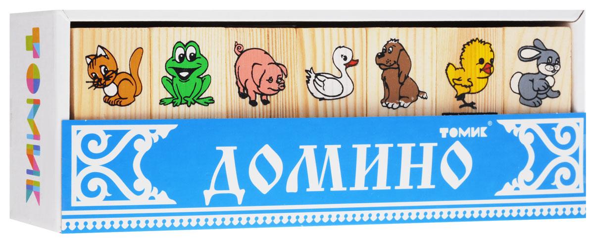 Томик Домино Животные5555-1Домино Томик Животные - это знаменитая игра на основе классических правил. Костяшки домино изготовлены из натурального дерева с изображением животных: уточки, собачки, котенка, зайчонка, цыпленка, поросенка и лягушонка. Правила игры просты: игрокам раздаются костяшки (их количество зависит от числа игроков). Начинает игру тот, у кого дубль с заранее оговоренной картинкой (или по очереди). Второй игрок приставляет с любой стороны костяшку с той же картинкой и так далее. Если игроку нечего поставить - он берет костяшки из оставшихся до тех пор, пока не получит нужной картинки. Выигрывает тот из игроков, кто первым сбросил все костяшки. Конечно, самые маленькие могут не понять правил, но им будет интересно просто играть с картинками - например, что-нибудь из них строить. Пусть ваш ребенок играет так, как захочет! Игра в домино помогает развитию наглядно-образного мышления, активного словаря, представлений о предметах, памяти, внимания, величины и формы.