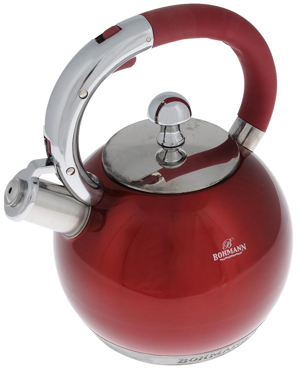 Чайник Bohmann со свистком, цвет: красный, 3 л. 8052ВНRNEW8052ВНRNEWЧайник Bohmann изготовлен из высококачественной нержавеющей стали. Внешняя поверхность имеет цветное эмалевое покрытие. Семислойное капсульное дно с алюминиевой вставкой обеспечивает оптимальное распределение тепла. Чайник снабжен стальной крышкой и эргономичной ручкой с прорезиненной бакелитовой вставкой. Свисток предназначен для определения закипания воды, открывается нажатием кнопки на рукоятке. Подходит для всех типов плит, включая индукционные. Можно мыть в посудомоечной машине. Диаметр (по верхнему краю): 9,5 см. Высота (без учета ручки и крышки): 13,5 см. Высота (с учетом ручки): 24 см.