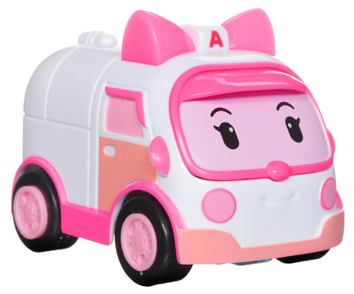 Robocar Poli Машинка Эмбер83242Яркая машинка Poli Эмбер непременно понравится вашему малышу. Она выполнена из прочного материала в виде Эмбер - персонажа популярного мультсериала Robocar Poli. Машинка оснащена световыми эффектами. Благодаря небольшому размеру ребенок сможет машинку с собой на прогулку, в поездку или в гости. Порадуйте своего малыша таким замечательным подарком! Работает машинка от встроенного аккумулятора.