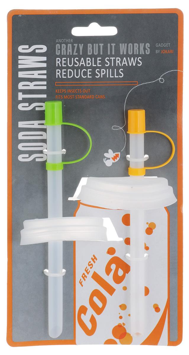 Набор трубочек с крышкой для газированных напитков Bradex Jokari, 2 штTK 0161Набор трубочек с крышкой для газированных напитков Bradex Jokari - оригинальное и полезное приспособление для любителей газировки. Трубочка защищает напиток от проливания благодаря специальной крышке, плотно закрывающей банку. Кроме того, набор трубочек с крышкой позволяет снизить риск образования кариеса, поскольку кислоты из газированного напитка попадают непосредственно в полость рта, минуя зубы. Этот набор также защитит вас от назойливых насекомых, которые обычно слетаются и садятся на остатки сладкого напитка на верхней части банки. Использование набора трубочек с крышкой для газированных напитков еще и более гигиенично, поскольку вы не дотрагиваетесь губами до нестерильной банки. Длина трубочки: 16 см. Диаметр крышки: 6,5 см.