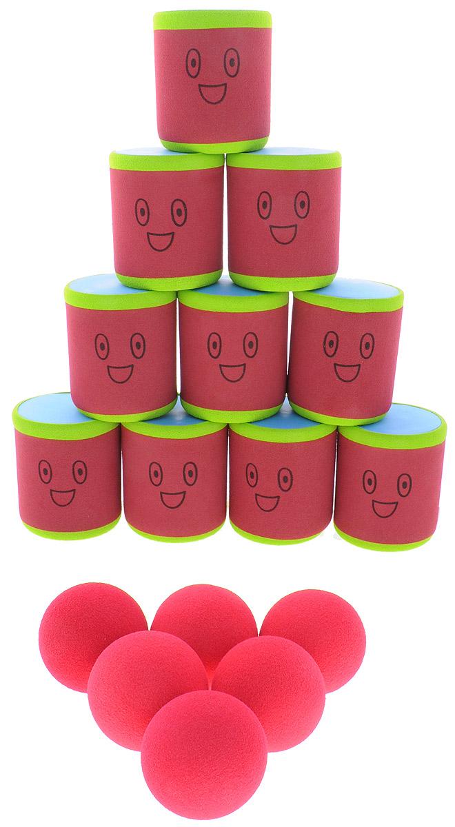 Safsof Игровой набор Городки цвет красный зеленыйAT-01N(B)_красный, зеленыйИгровой набор Safsof Городки, изготовленный из вспененной резины и полимера, состоит из десяти ярких банок и шести мячиков. Цель игры: выбить как можно больше фигур, построенных из трех и более городков (банок), мячами с определенного расстояния. Каждый участник сбивает фигуру с одного и того же расстояния, на каждую фигуру дается три броска. Если игроку удается сбить фигуру с первого броска, он получает 3 балла, со второго - 2 и с третьего - 1. Выигрывает тот участник, который набирает большее количество баллов. Благодаря яркой расцветке и легкому и безопасному материалу, с этим набором можно играть не только на улице, но и дома.