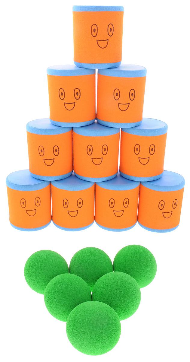 Safsof Игровой набор Городки цвет оранжевый голубой зеленыйAT-01N(B)_оранжевый, голубой, зеленыйИгровой набор Safsof Городки, изготовленный из вспененной резины и полимера, состоит из десяти ярких банок и шести мячиков. Цель игры: выбить как можно больше фигур, построенных из трех и более городков (банок), мячами с определенного расстояния. Каждый участник сбивает фигуру с одного и того же расстояния, на каждую фигуру дается три броска. Если игроку удается сбить фигуру с первого броска, он получает 3 балла, со второго - 2 и с третьего - 1. Выигрывает тот участник, который набирает большее количество баллов. Благодаря яркой расцветке и легкому и безопасному материалу, с этим набором можно играть не только на улице, но и дома.