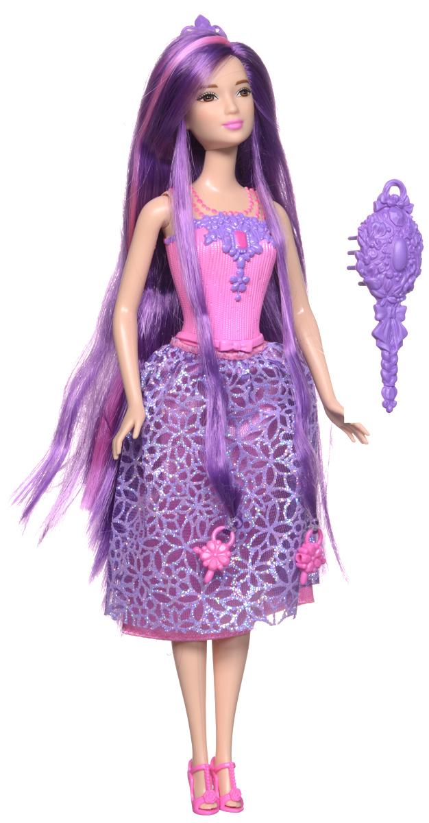 Barbie Кукла Принцесса с длинными волосами цвет одежды розовый фиолетовыйDKB56_DKB59Новая кукла Barbie Принцесса с длинными волосами очарует своими роскошными локонами! Дайте волю своей фантазии и уложите 20-сантиметровые разноцветные волосы принцессы Barbie в чудесные прически! К кукле прилагается расческа и диадема, а в ее волосы вплетены две бусинки, подходящие к парикмахерским инструментам Barbie из набора Barbie Snapn Style Princess Doll (продается отдельно). Инструмент захватывает бусинки, и юным стилистам остается лишь нажать на кнопку и завить волосы куклы. Почувствуй себя настоящим стилистом - это весело и просто! В набор входит кукла-принцесса Barbie с длинными волосами, две бусинки, расческа и диадема.