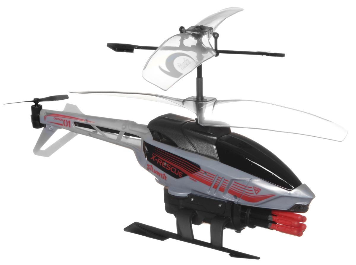 Silverlit Вертолет на радиоуправлении Heli Sniper цвет серый84514_серыйВертолет на радиоуправлении Silverlit Heli Sniper с трехканальным цифровым управлением обязательно привлечет внимание вашего ребенка. Вертолет оснащен возможность точно управлять игрушкой во время полета. Он оснащен уникальной системой винта, которая способствует стабильному подъему. С игрушкой можно играть и на улице, если безветренная погода, и в закрытом помещении. У вертолета имеется контроль скорости, он может стрелять стрелами (8 штук в комплекте), во время стрельбы производится специальный световой эффект. Вертолет может летать вверх/вниз, вперед, вправо/влево. Зарядка аккумулятора осуществляется от пульта управления. Вертолет работает от встроенного аккумулятора (входит в комплект). Для работы пульта управления необходимо докупить 6 батареек напряжением 1,5V типа АА (в комплект не входят).