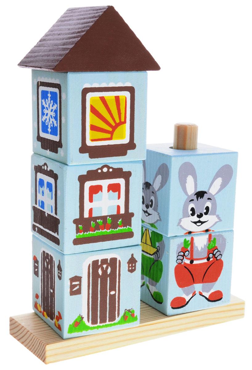 Томик Развивающая игрушка Зайка4545-2Развивающая игрушка Томик Зайка - это не просто кубики, ведь из них можно собрать две пирамидки и получить готовый сюжет для спектакля. Малышу нужно помочь зайке не только одеться по погоде, но построить домик, ориентируясь на время года. Благодаря кубикам на палочке Зайка ребята запомнят, какие особенности есть у каждого времени года. Игра с кубиками будет способствовать развитию моторики, логики, умения анализировать и обобщать информацию.