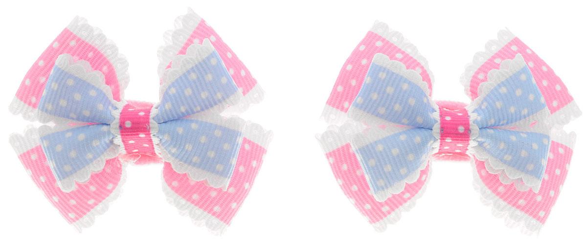 Baby's Joy Резинка для волос Бантик маленький цвет розовый голубой 2 шт