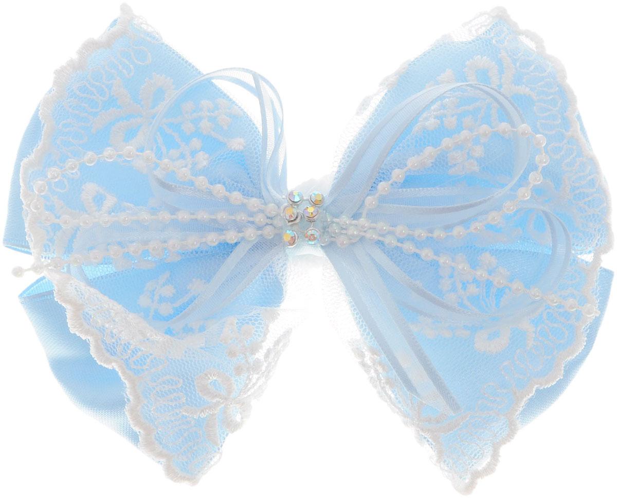 Baby's Joy Резинка для волос Бант с кружевами цвет голубой