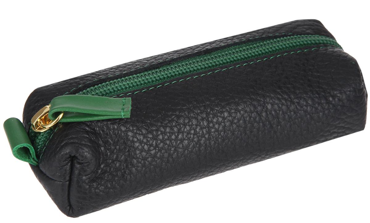 Ключница женская Dimanche Mumi, цвет: черный, зеленый. 087087Стильная женская ключница Dimanche Mumi выполнена из натуральной кожи с фактурным тиснением. Изделие имеет одно отделение для ключей с удобным кольцом. Закрывается ключница на застежку-молнию. Такая ключница станет отличным подарком для человека, ценящего качественные и практичные вещи.