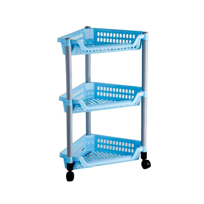 Этажерка угловая Бытпласт Тереза, 3 полки, цвет: голубой, 40 см х 27 см х 61 смС12420Угловая этажерка Тереза с 3 полками выполнена из пластика и предназначена для хранения различных предметов на кухне или в ванной. Для удобства перемещения этажерка оснащена колесиками. Очень удобная и компактная, но в тоже время вместительная, она прекрасно впишется в пространство любого помещения. Этажерка придется особенно кстати, если у вас небольшая ванная или кухня: она займет минимум пространства. Легко собирается и разбирается. Размер этажерки (ДхШхВ): 40 см х 27 см х 61 см. Размер полки (ДхШхВ): 40 см х 27 см х 6 см.