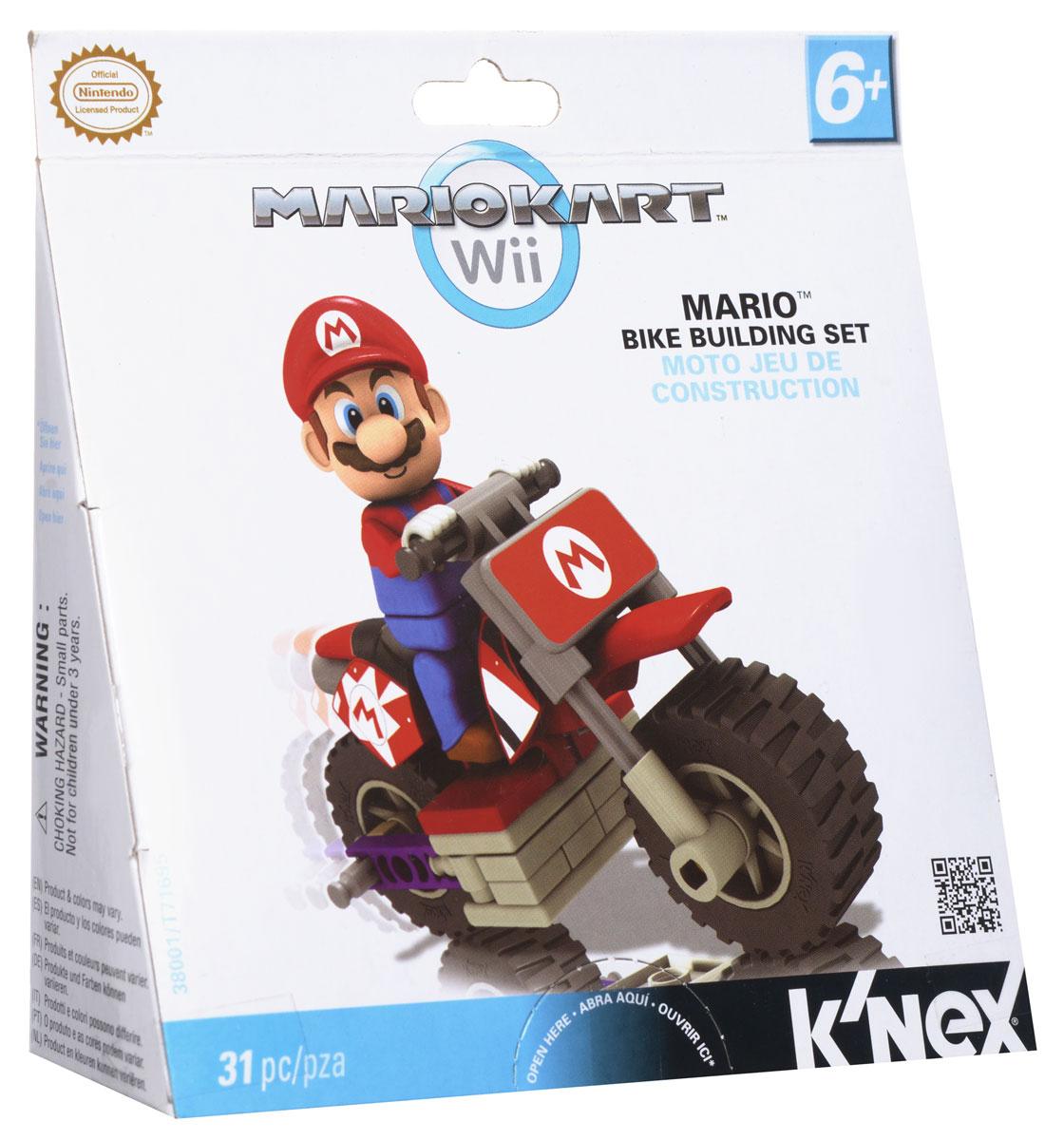 Knex Конструктор Транспорт Mario цвет красный38001/T71695Конструктор Knex Транспорт Mario понравится всем поклонникам видеоигры от компании Nintendo. Все элементы выполнены из прочного и безопасного материала. В комплект входит 31 элемент конструктора, включая фигурку любимого героя. С помощью элементов конструктора ребенок сможет собрать мотоцикл и фигурку. Ваш ребенок будет часами играть с этим конструктором и фигуркой, придумывая различные истории.